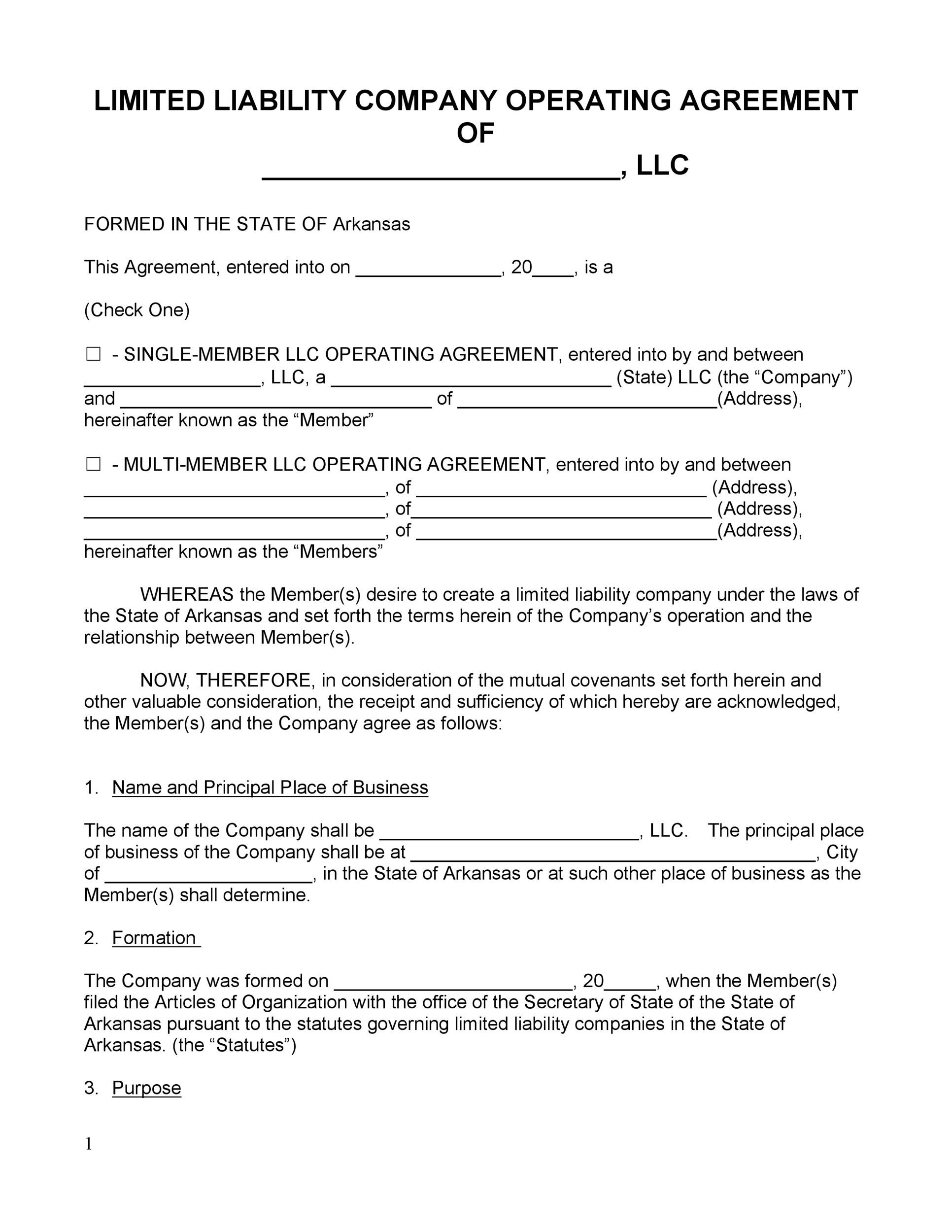 Free llc operating agreement template 12