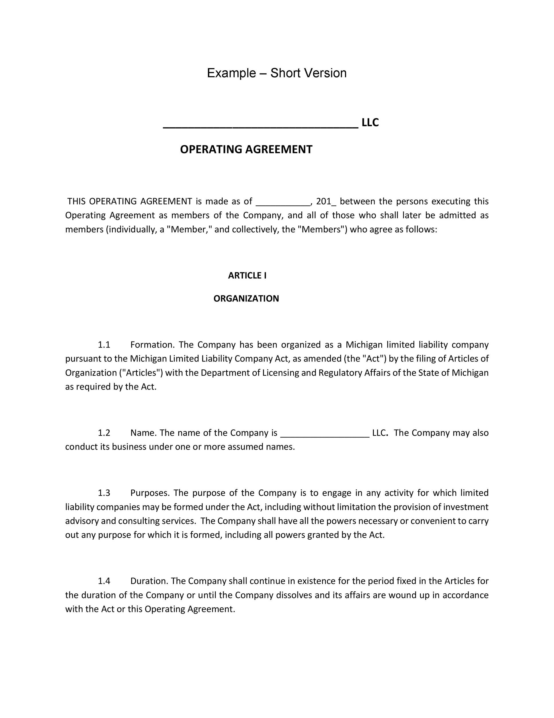 Free llc operating agreement template 14
