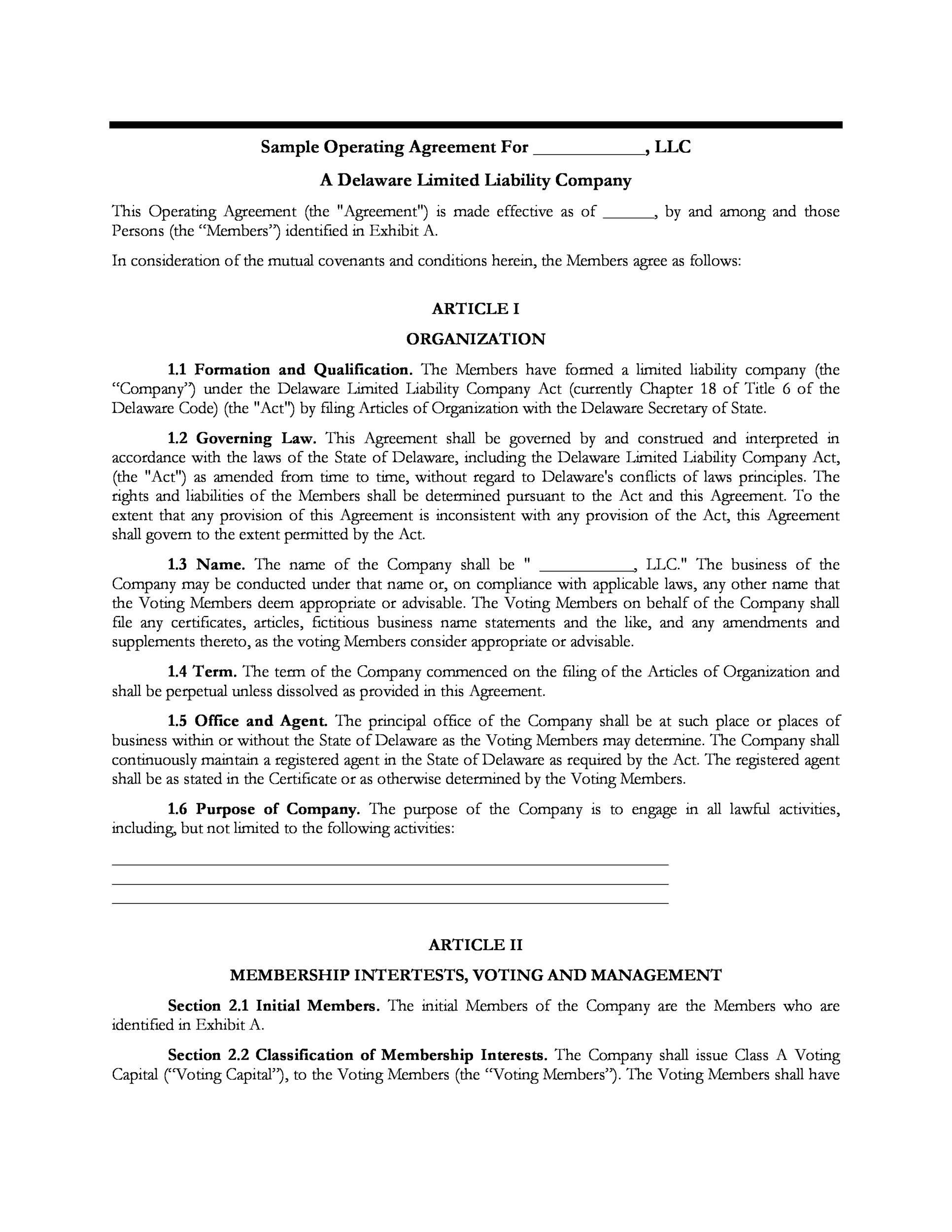 Free llc operating agreement template 16