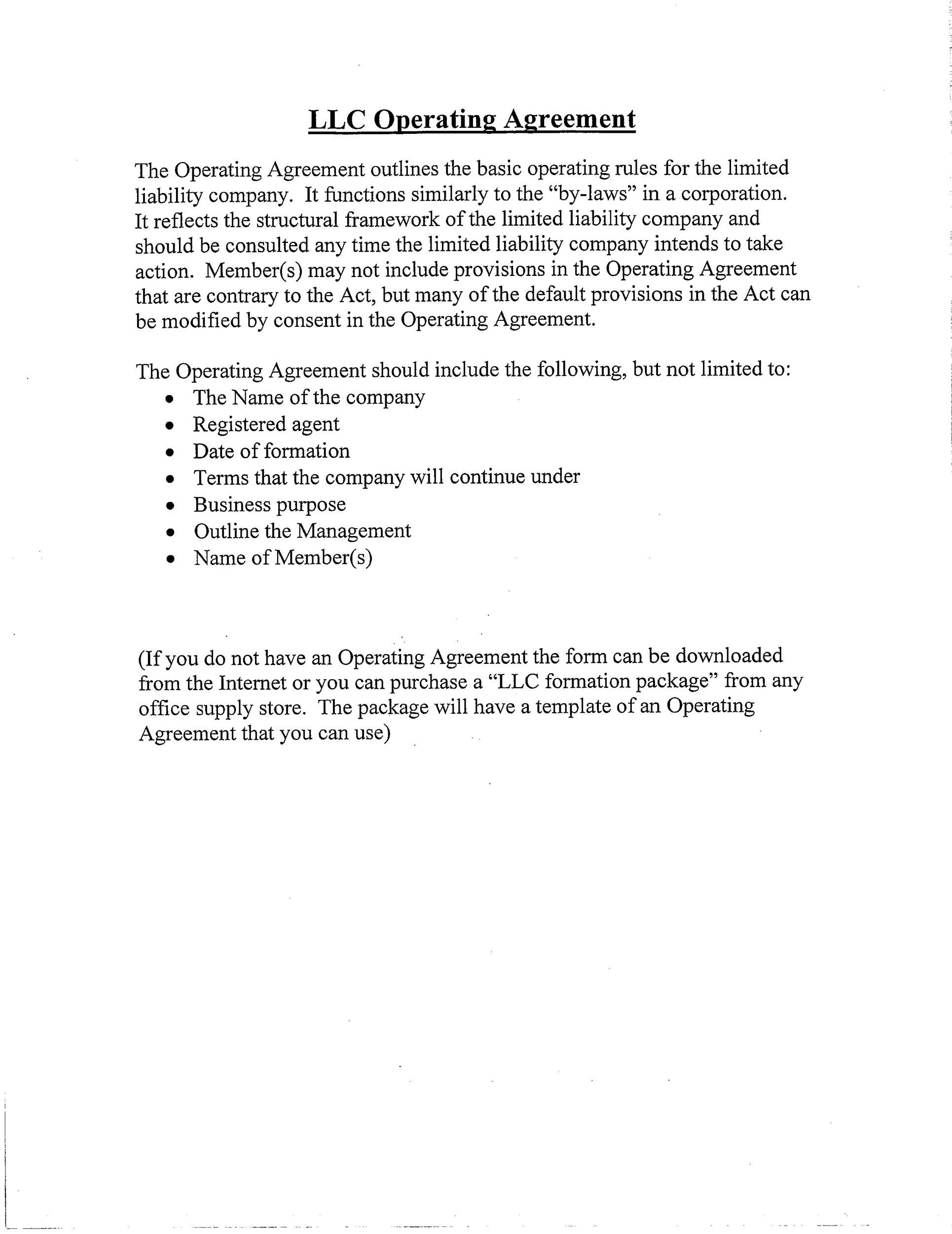Free llc operating agreement template 19