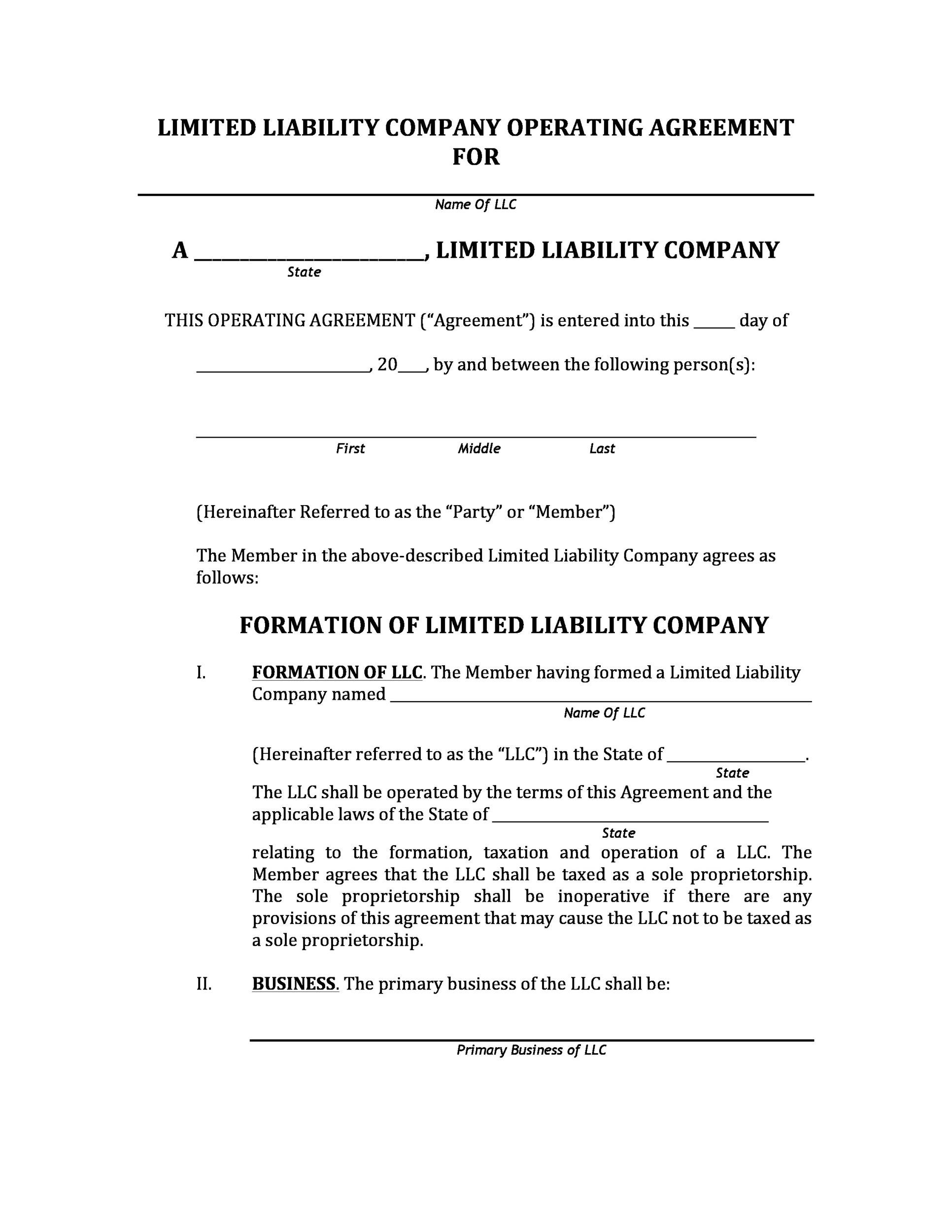 Llc operating agreement template 28 images sle for Free llc operating agreement