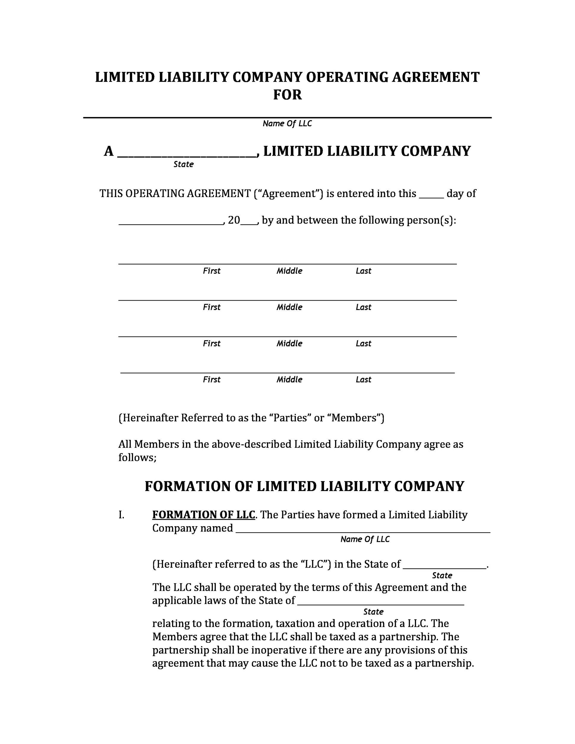 Free llc operating agreement template 21