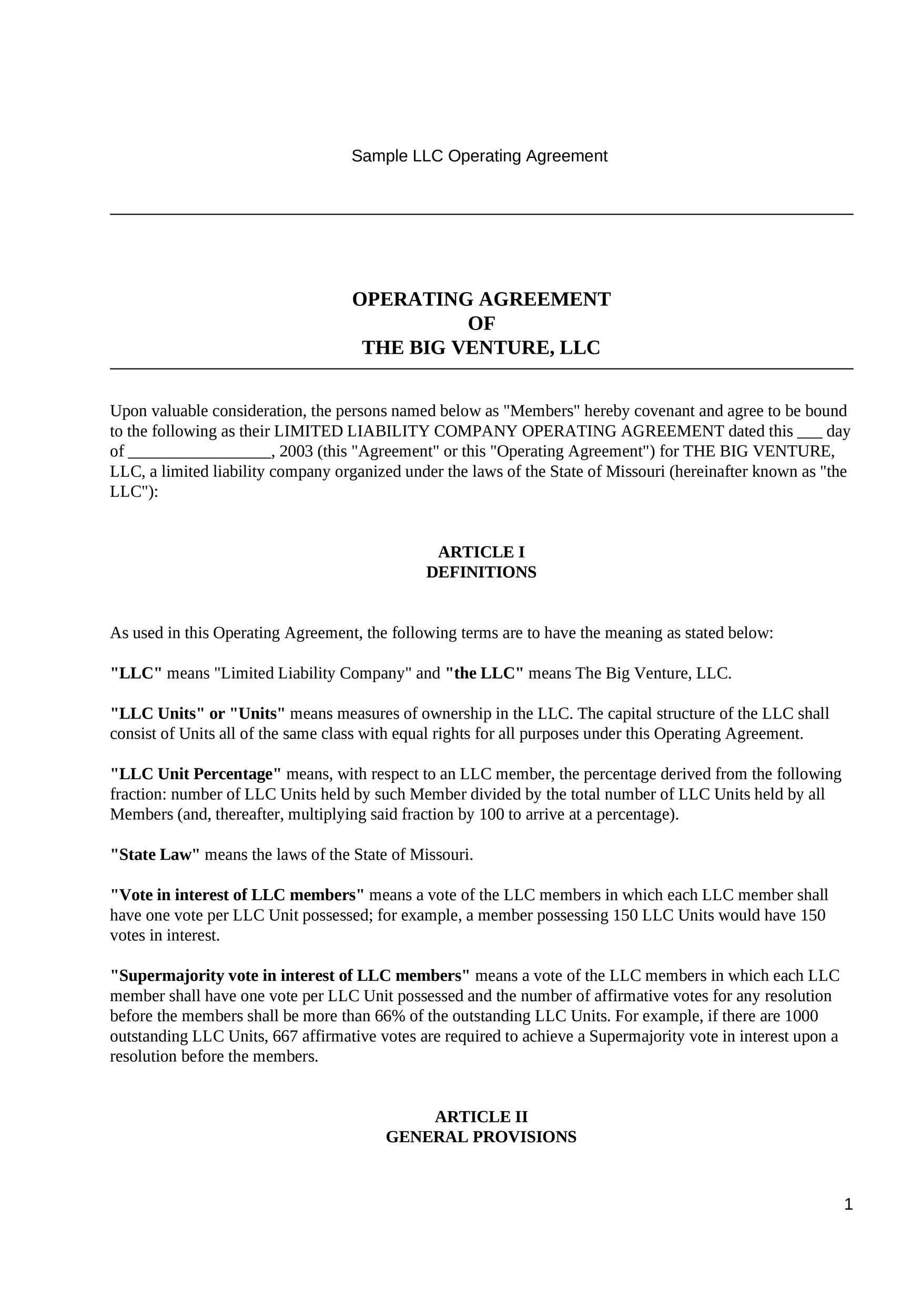 Free llc operating agreement template 23
