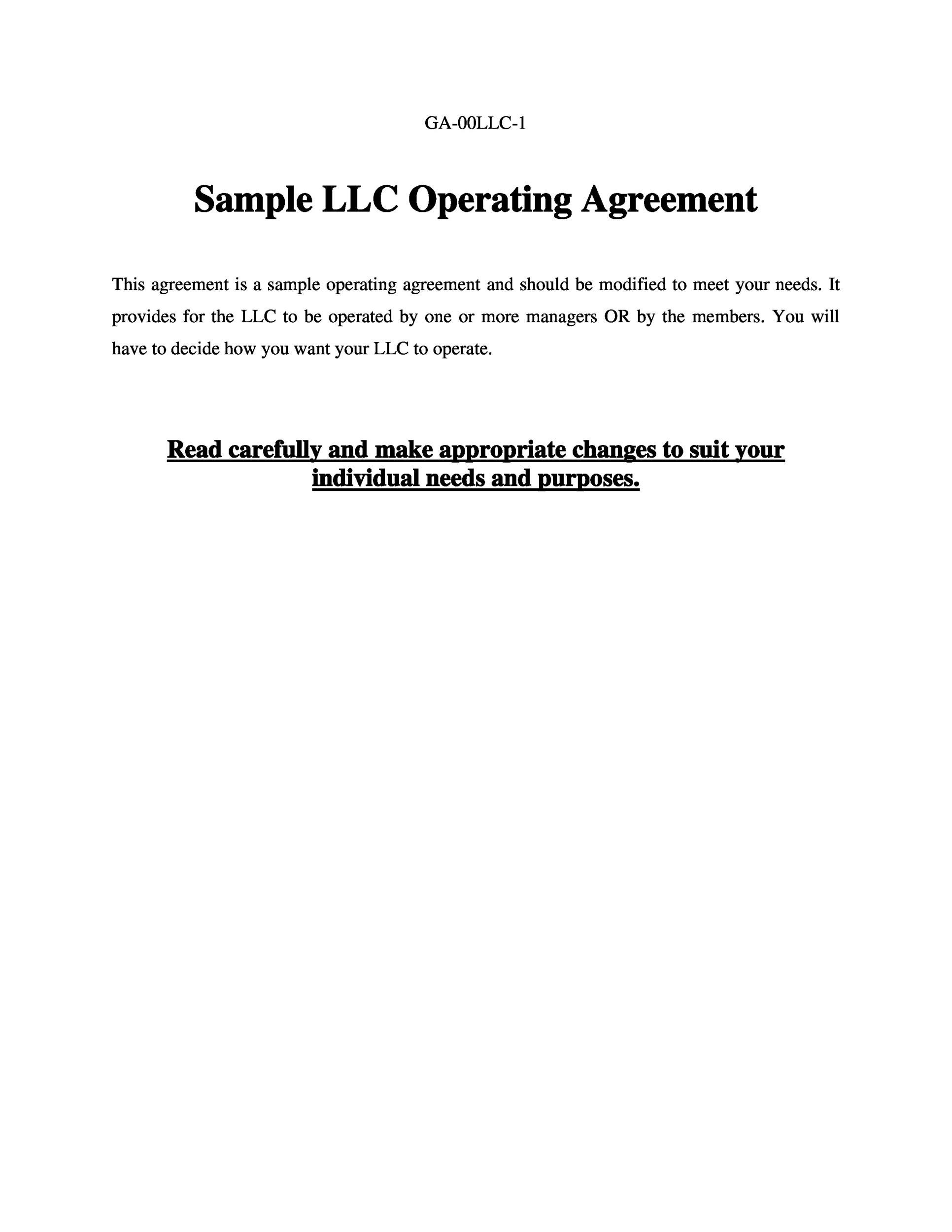 Free llc operating agreement template 24