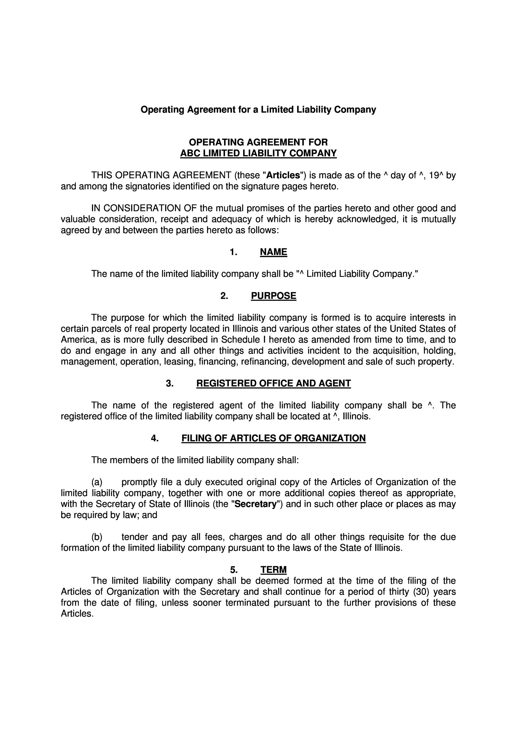 llc operating agreement template 25