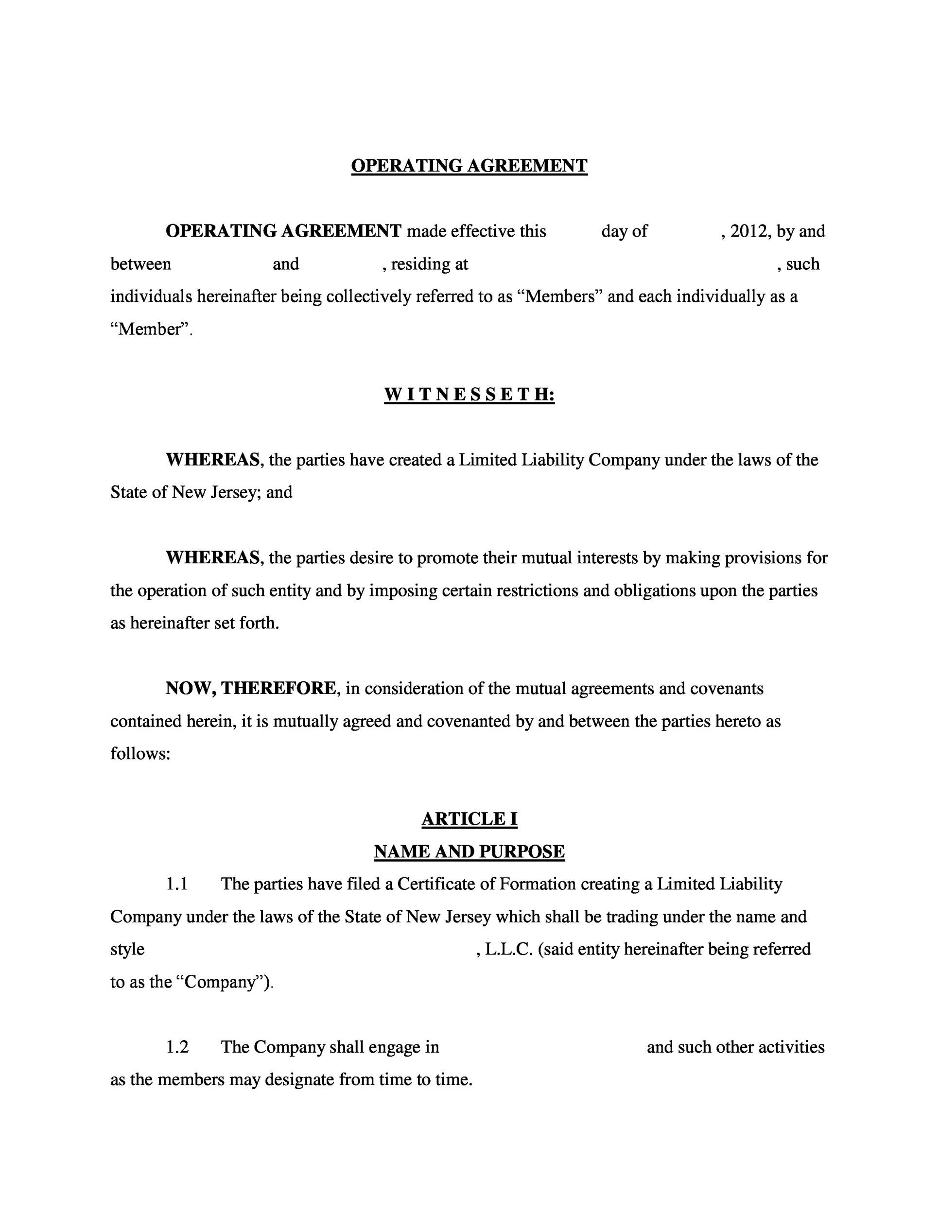 Free llc operating agreement template 27