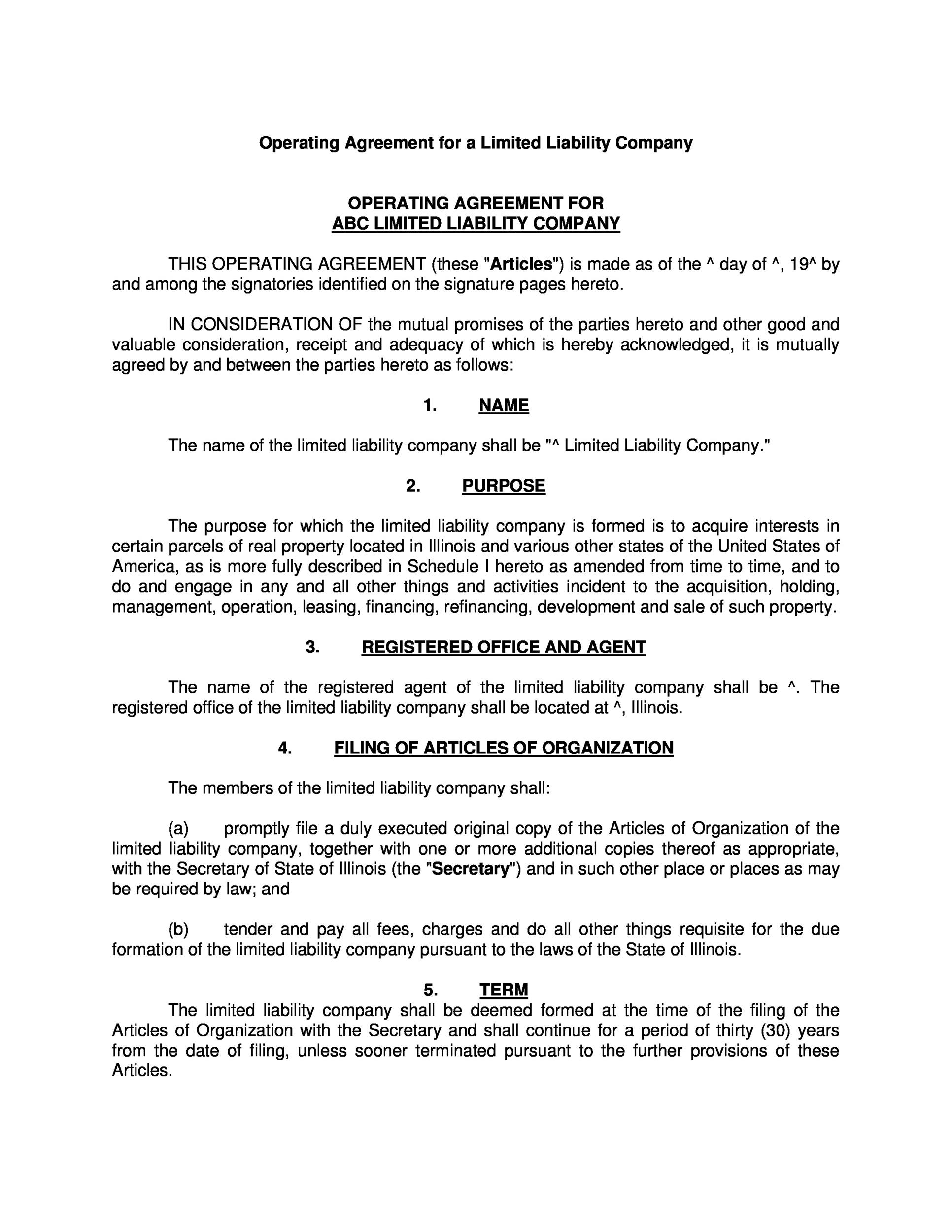 Free llc operating agreement template 28