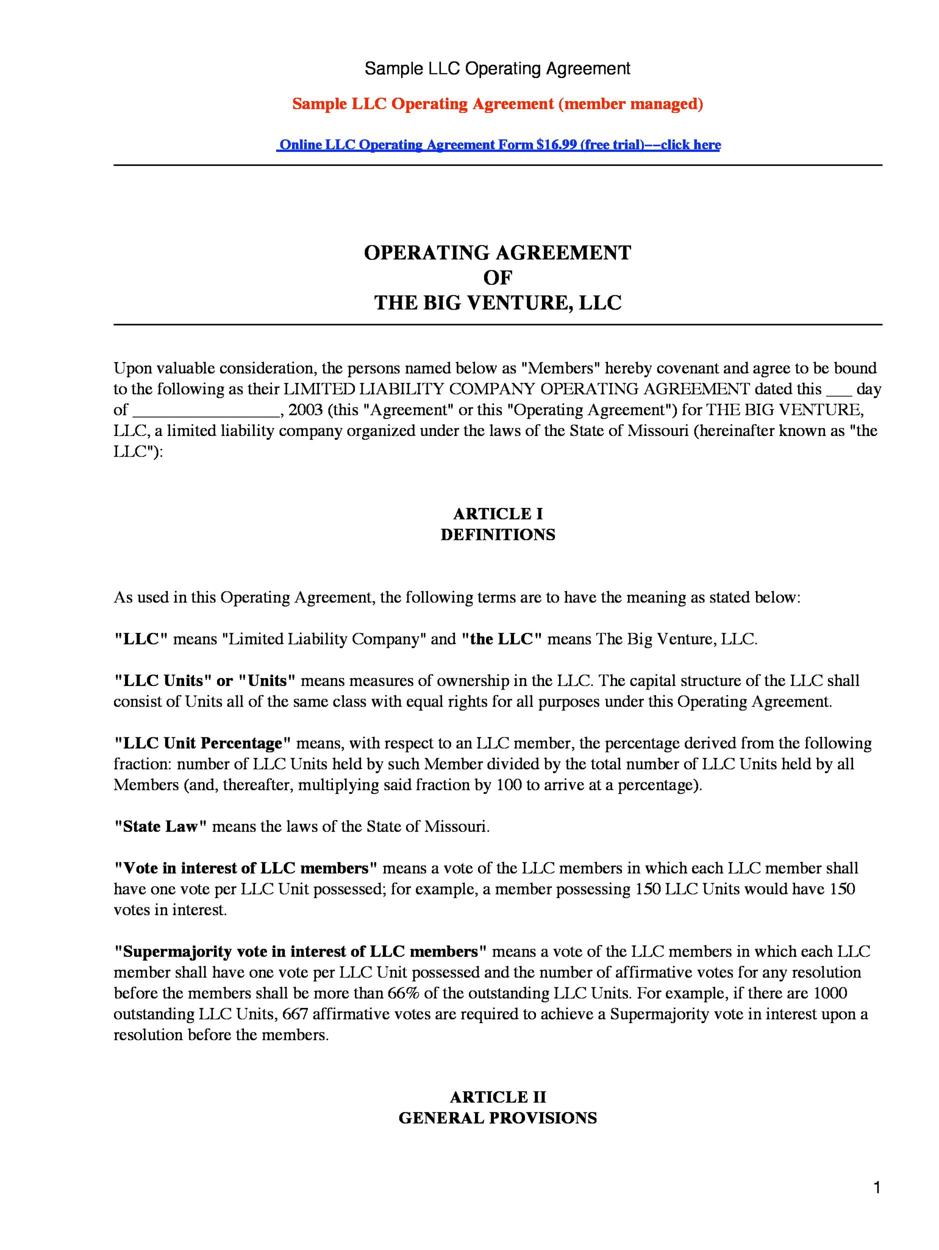 Free llc operating agreement template 29