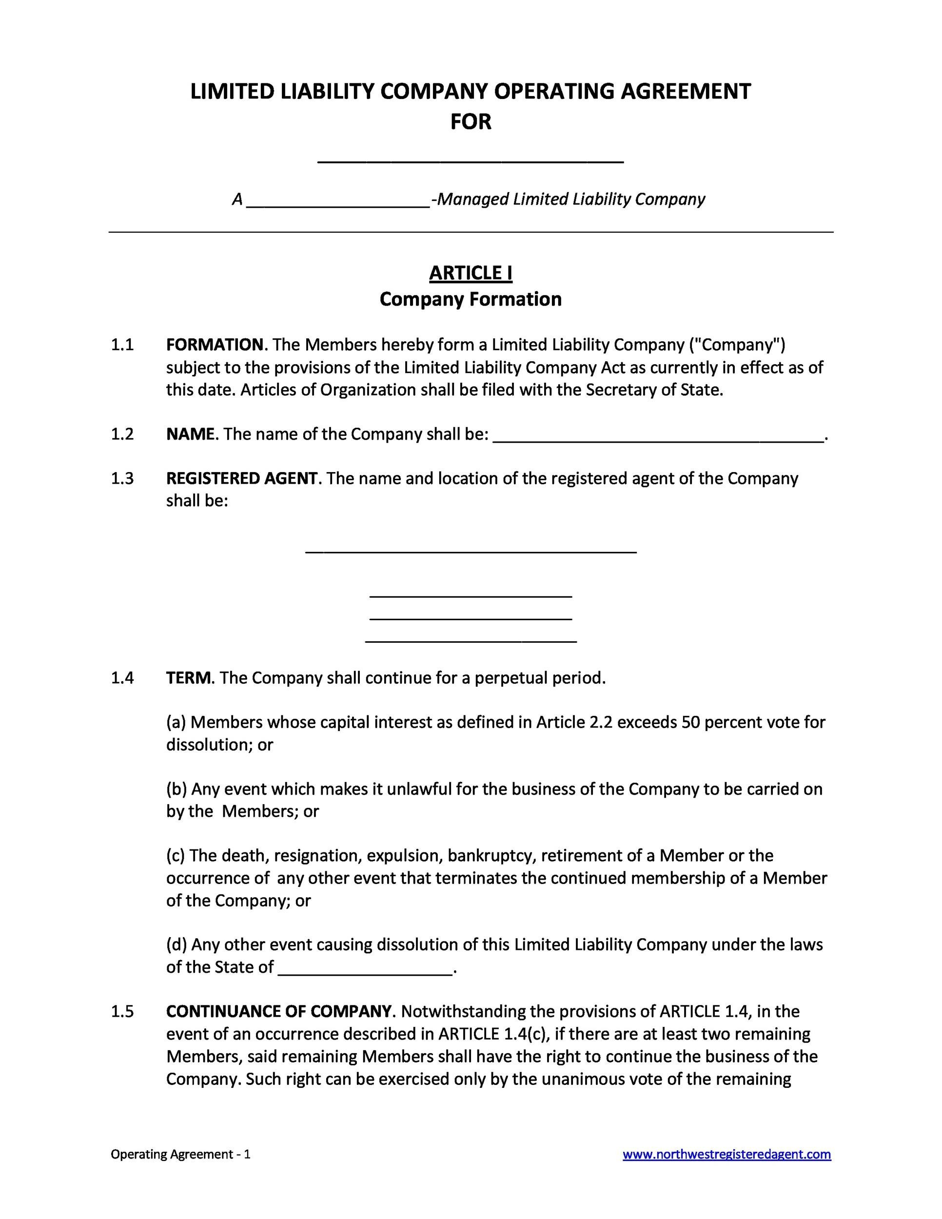Free llc operating agreement template 30
