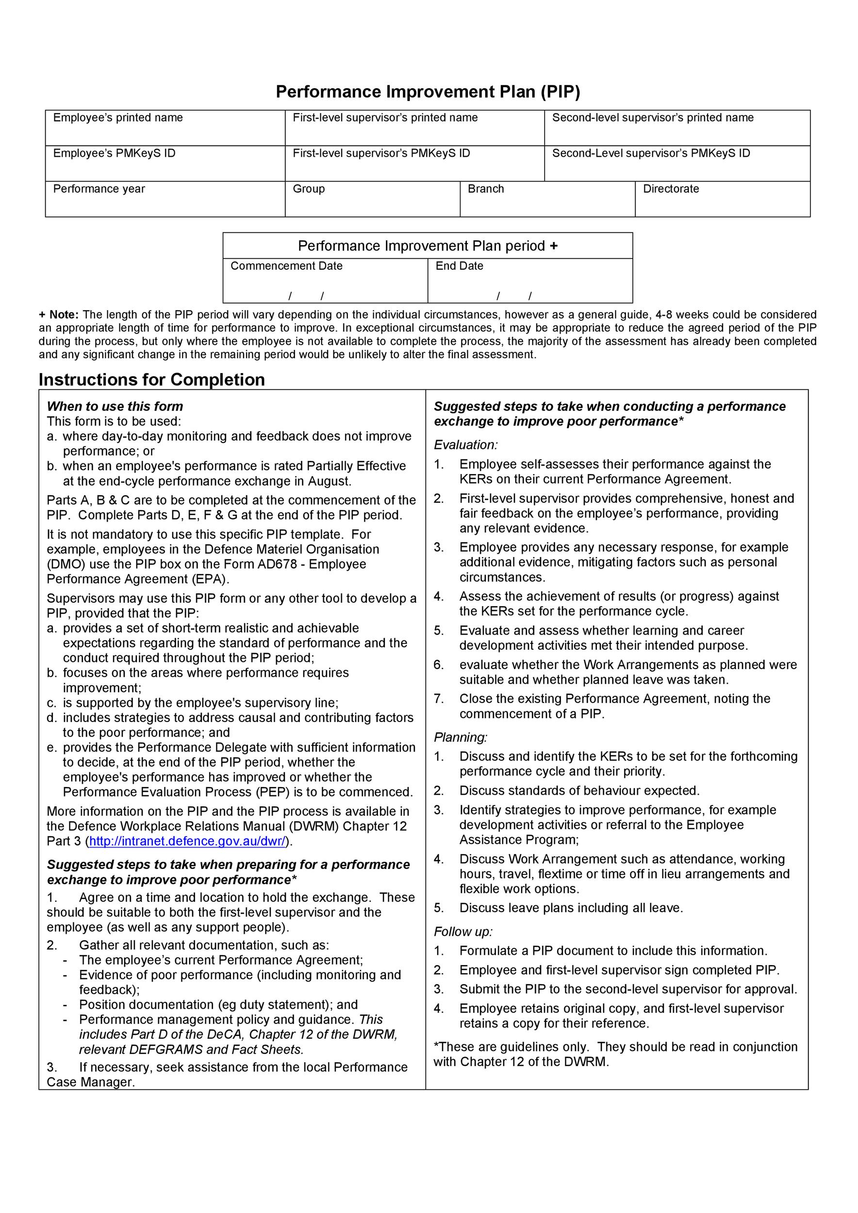 Printable Performance Improvement Plan Template 02