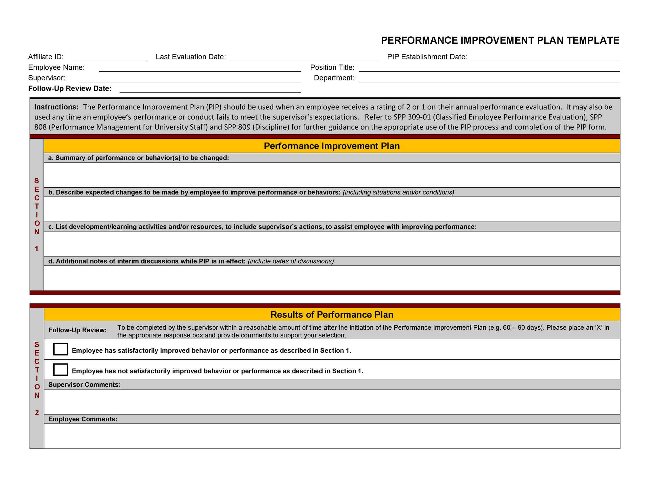Free performance improvement plan template 04