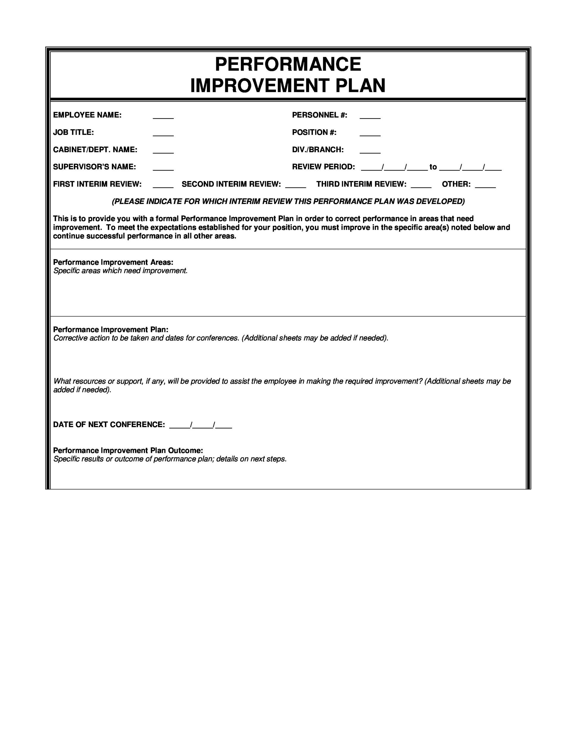 Printable Performance Improvement Plan Template 14  Example Action Plan Template