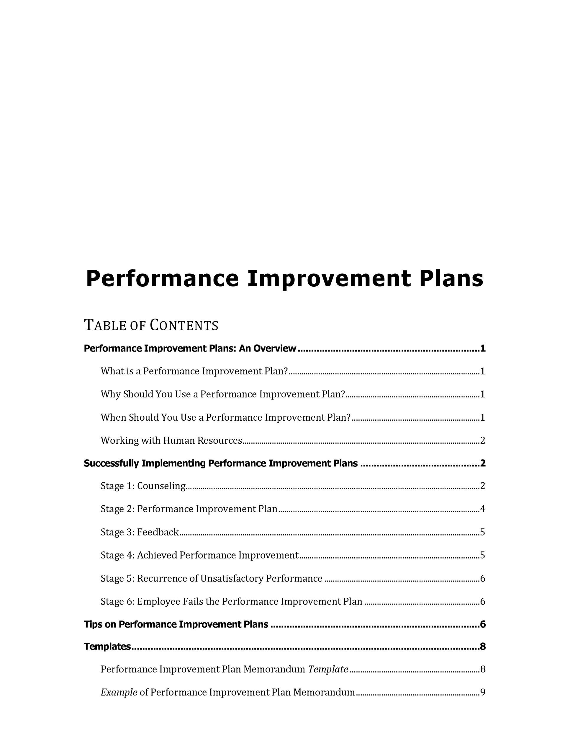 Printable Performance Improvement Plan Template 15  Employee Development Template
