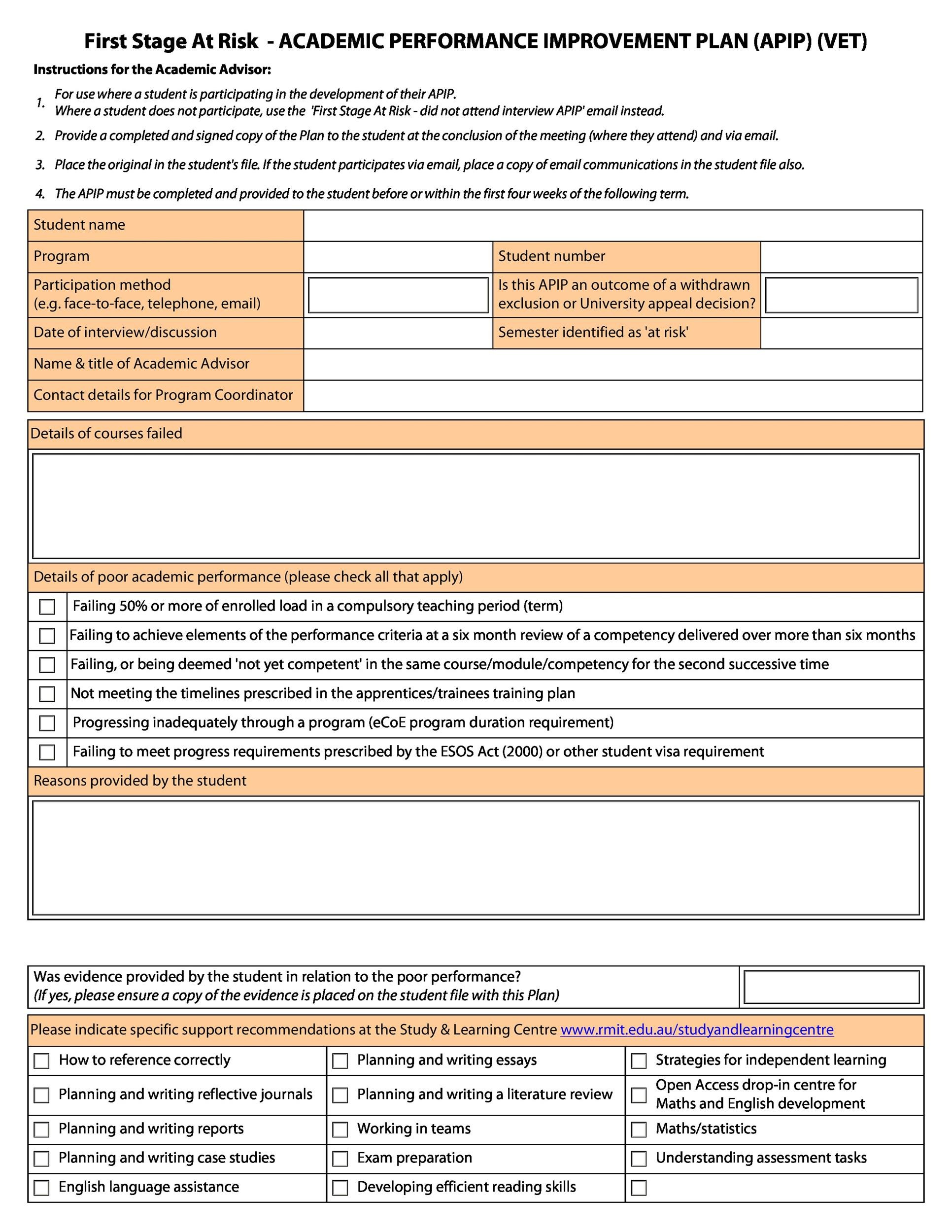 Printable Performance Improvement Plan Template 22