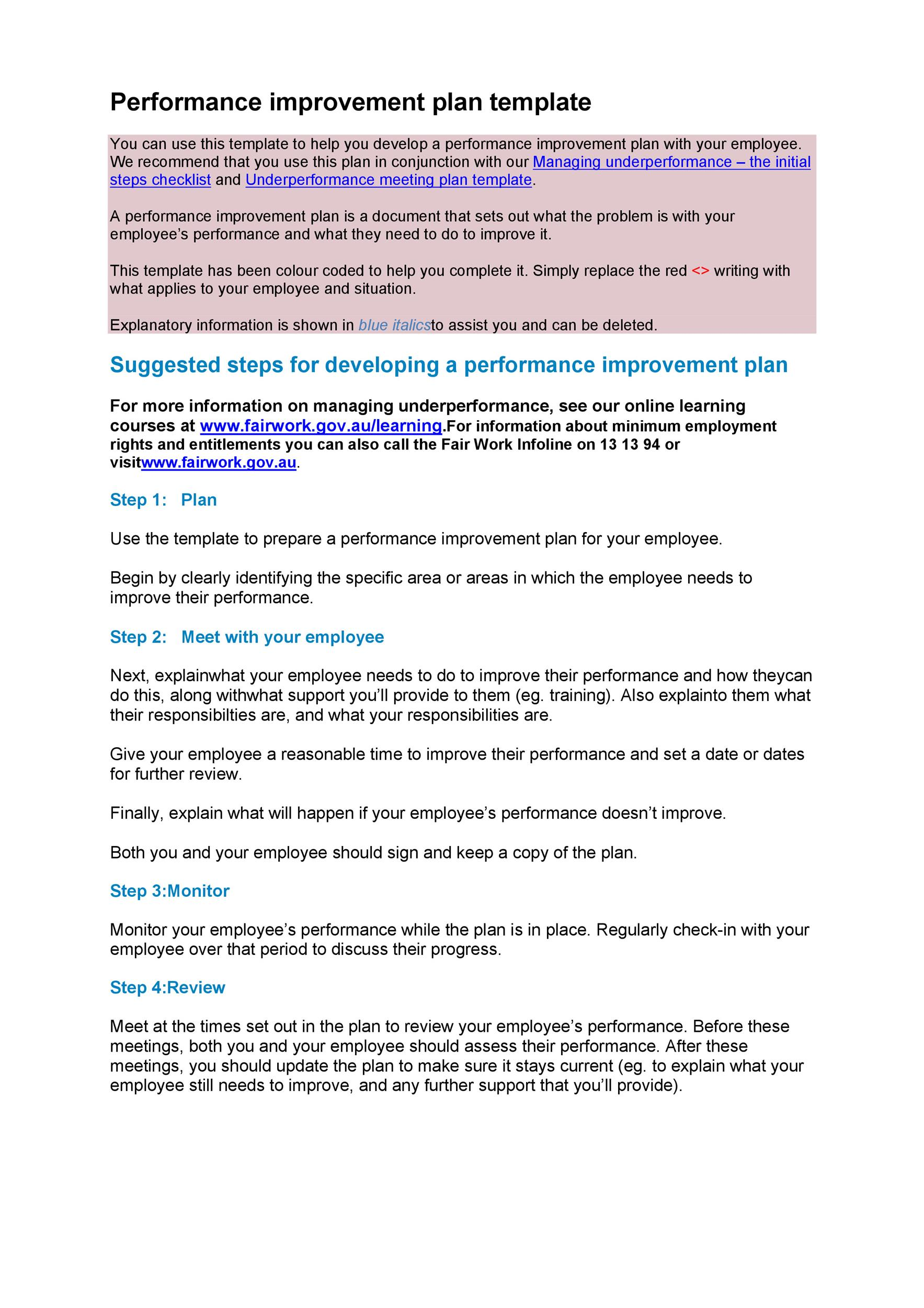 Free performance improvement plan template 24
