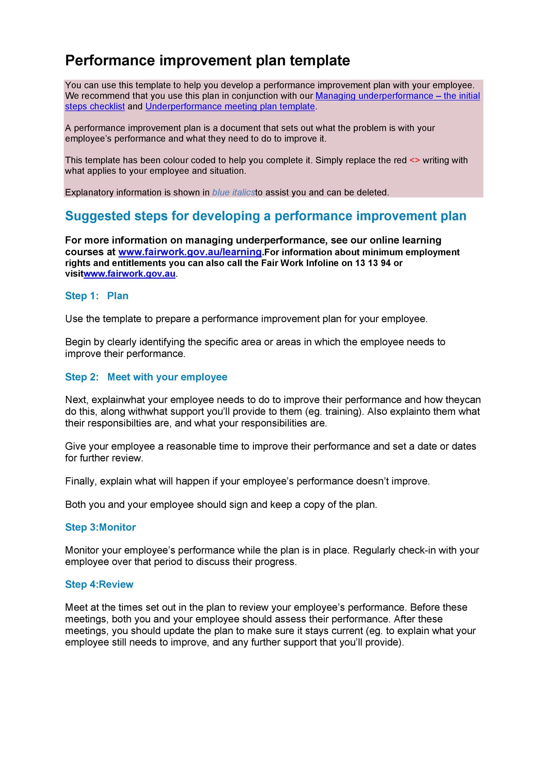 Free performance improvement plan template 24