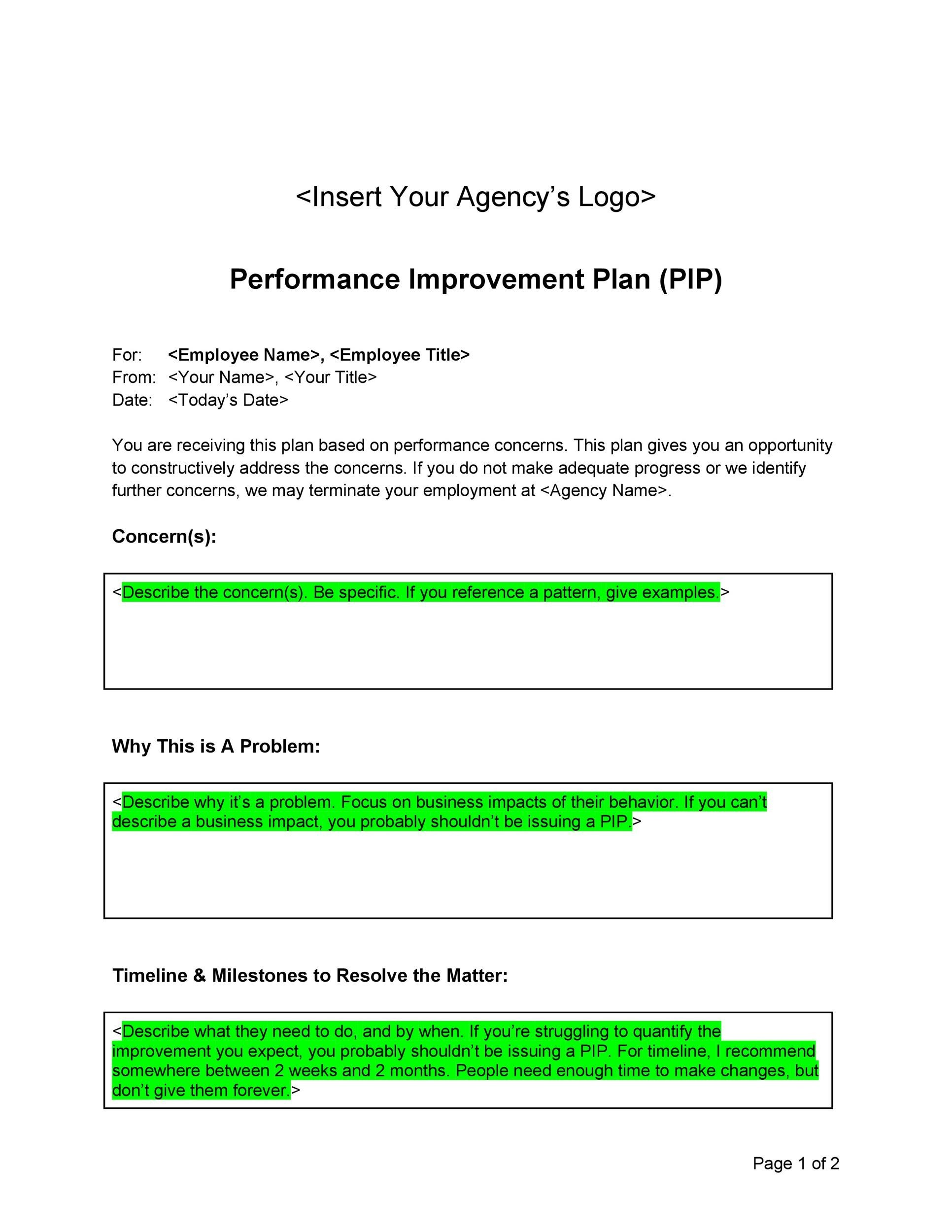 Doc.#9001165: Personal Improvement Plan Template – 40 Performance ...