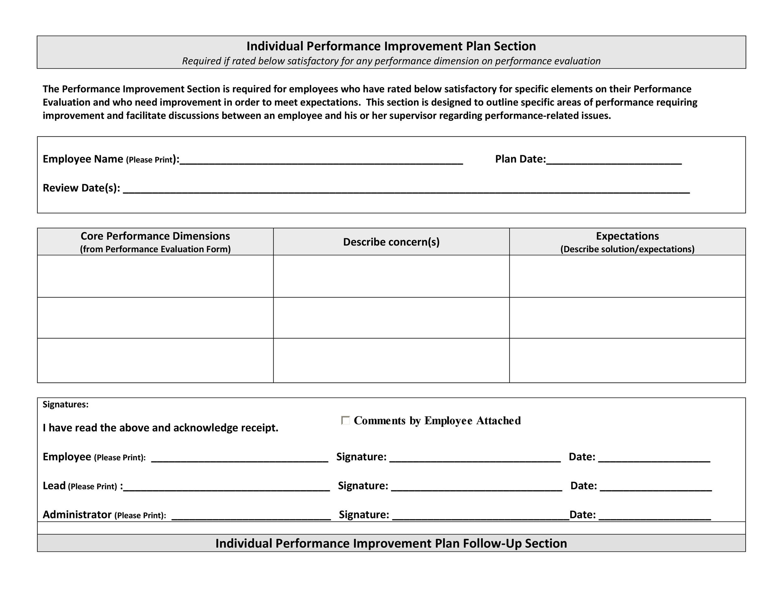 Employee Performance Improvement Plan Template  Plan Template