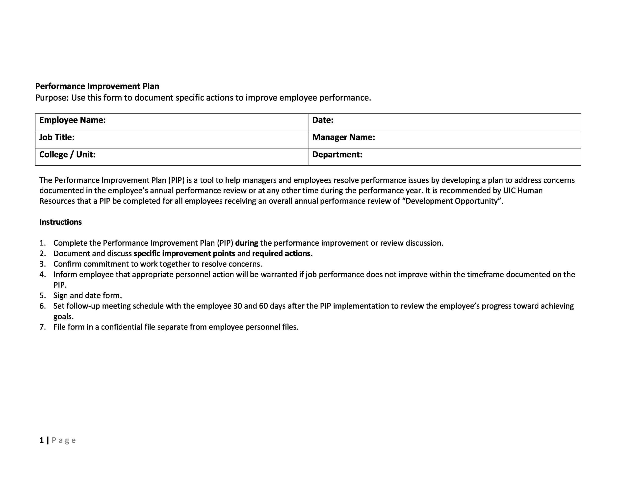 Free performance improvement plan template 38