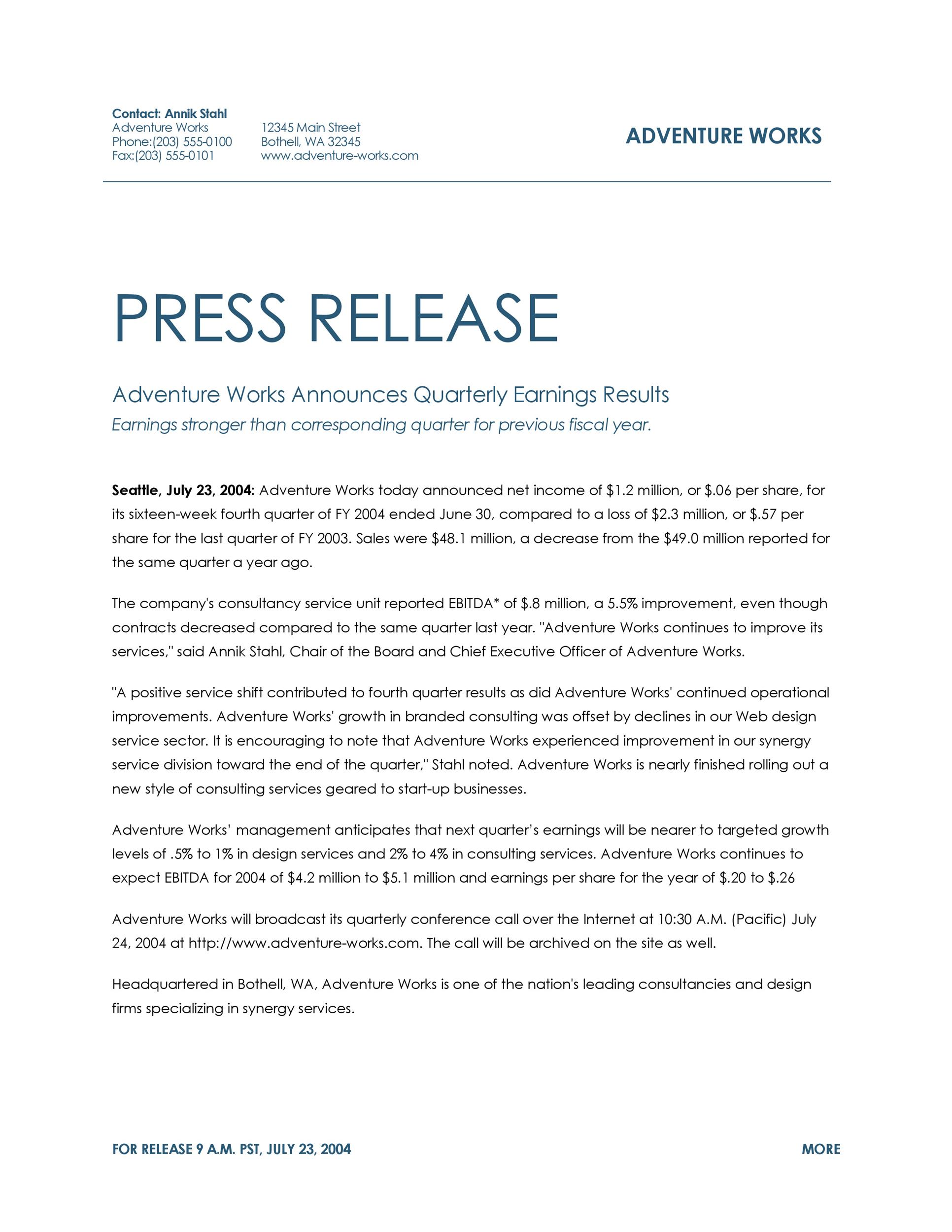 Free Press release template 01