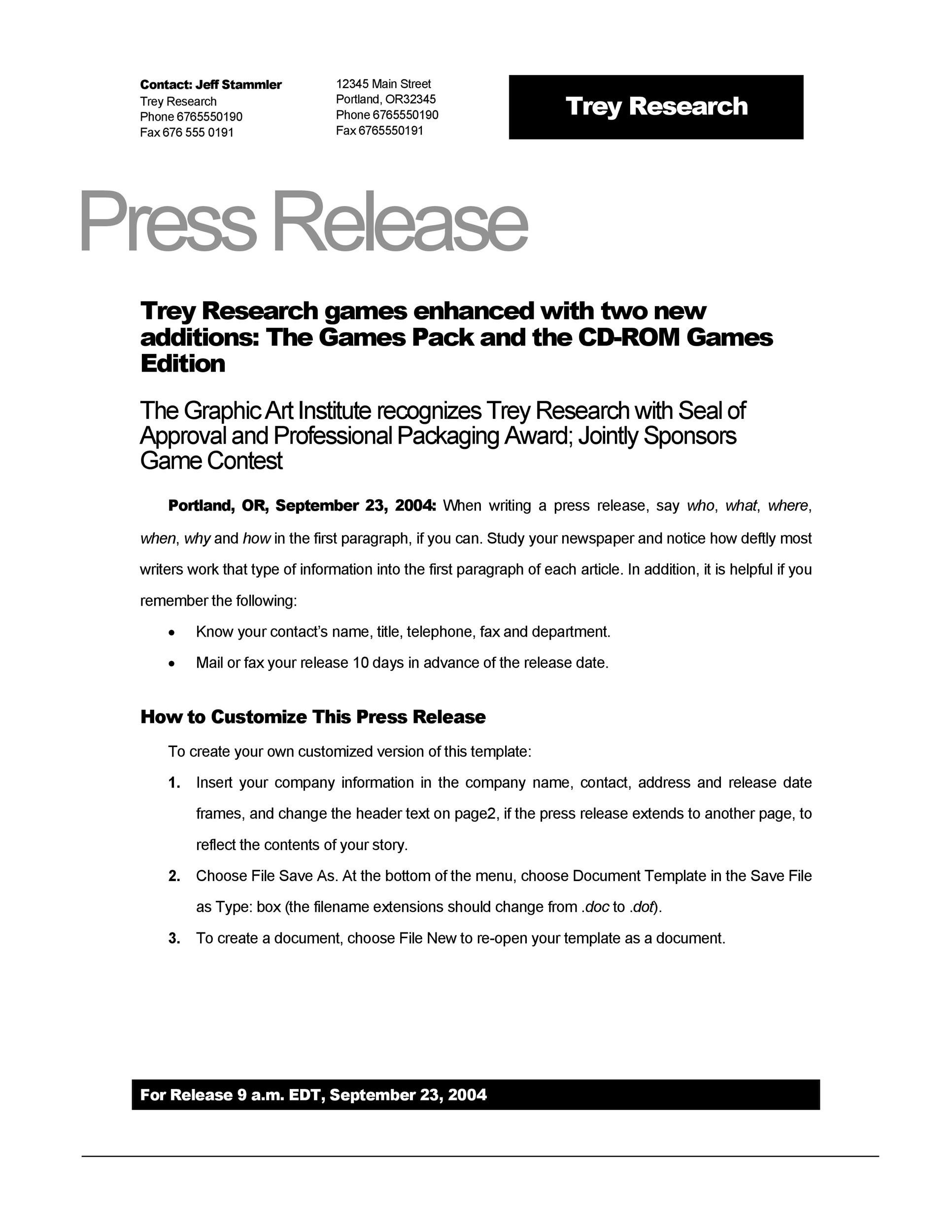 Printable Press Release Template 02  Organizational Change Announcement Template