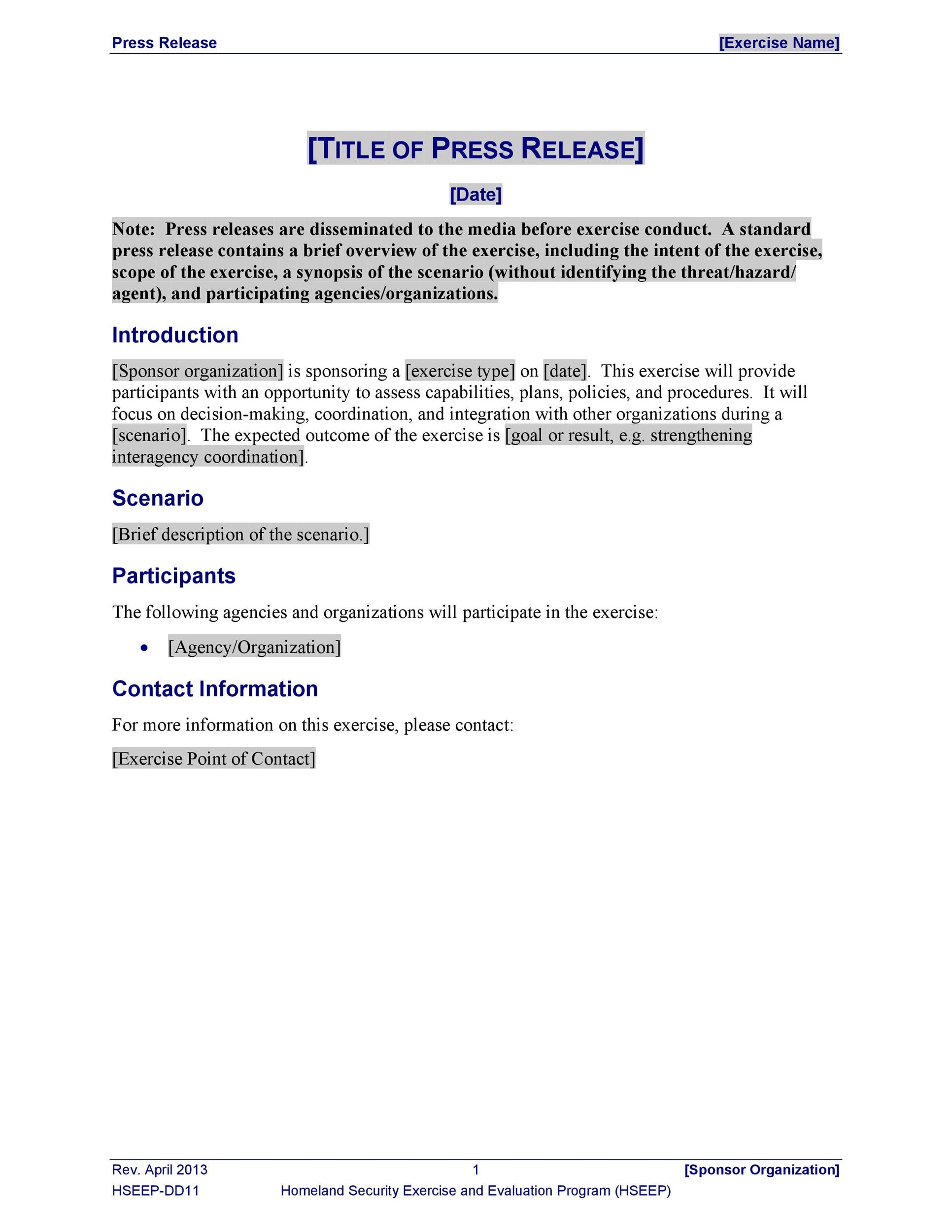 Printable Press Release Template 05