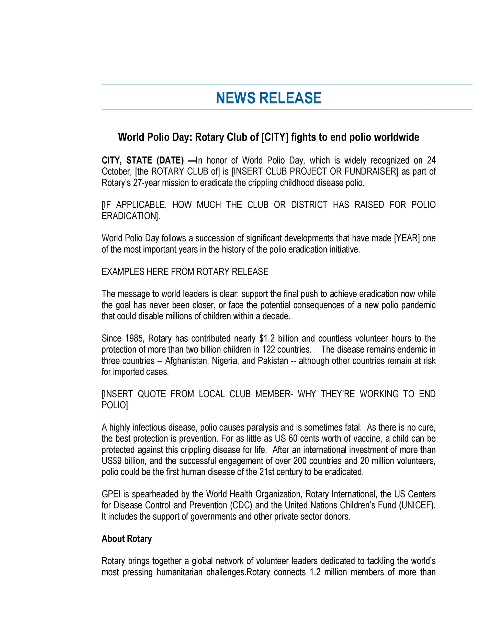 Free Press release template 06