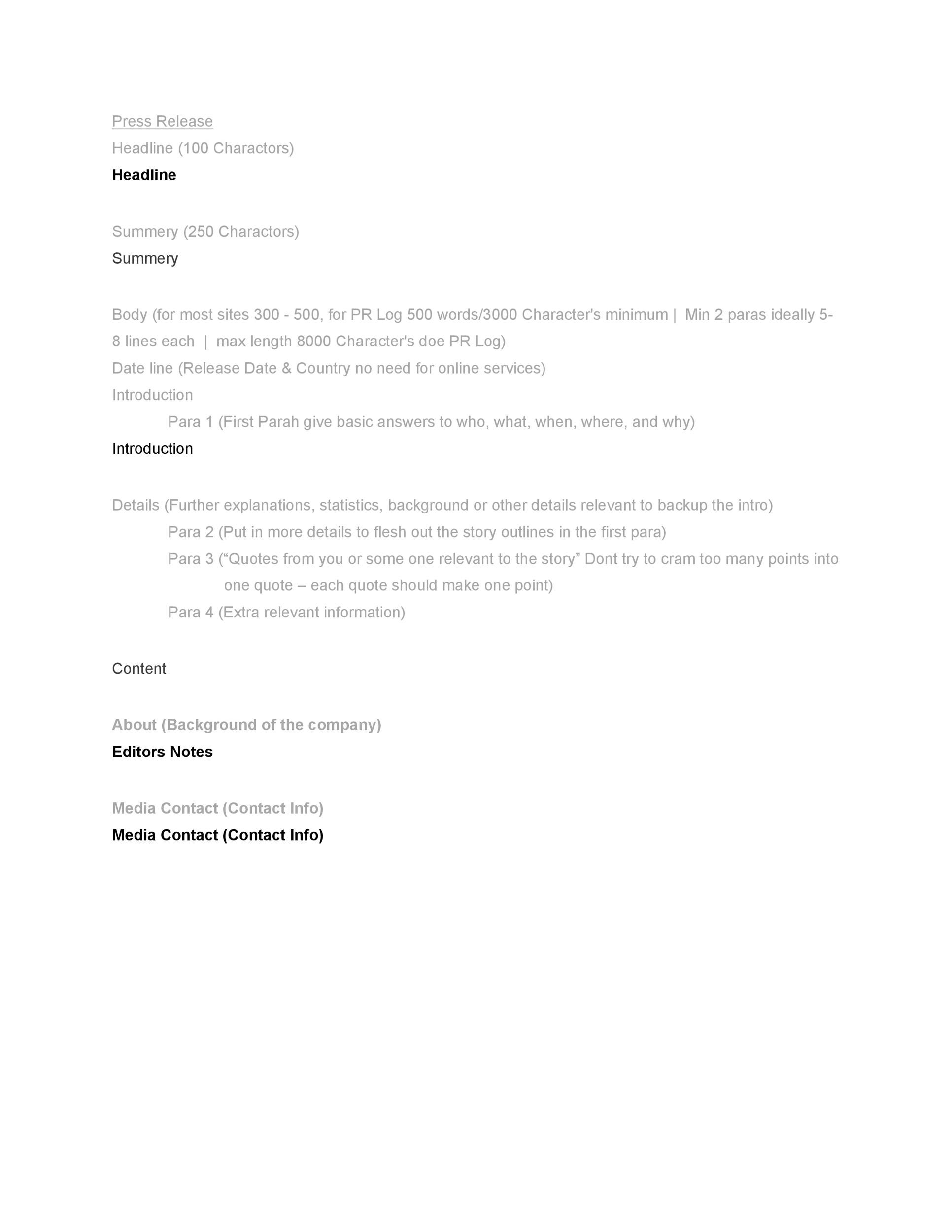Free Press release template 08