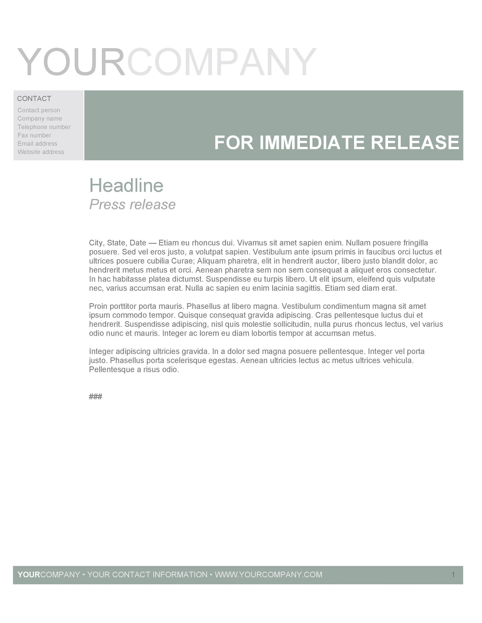 Free Press release template 09