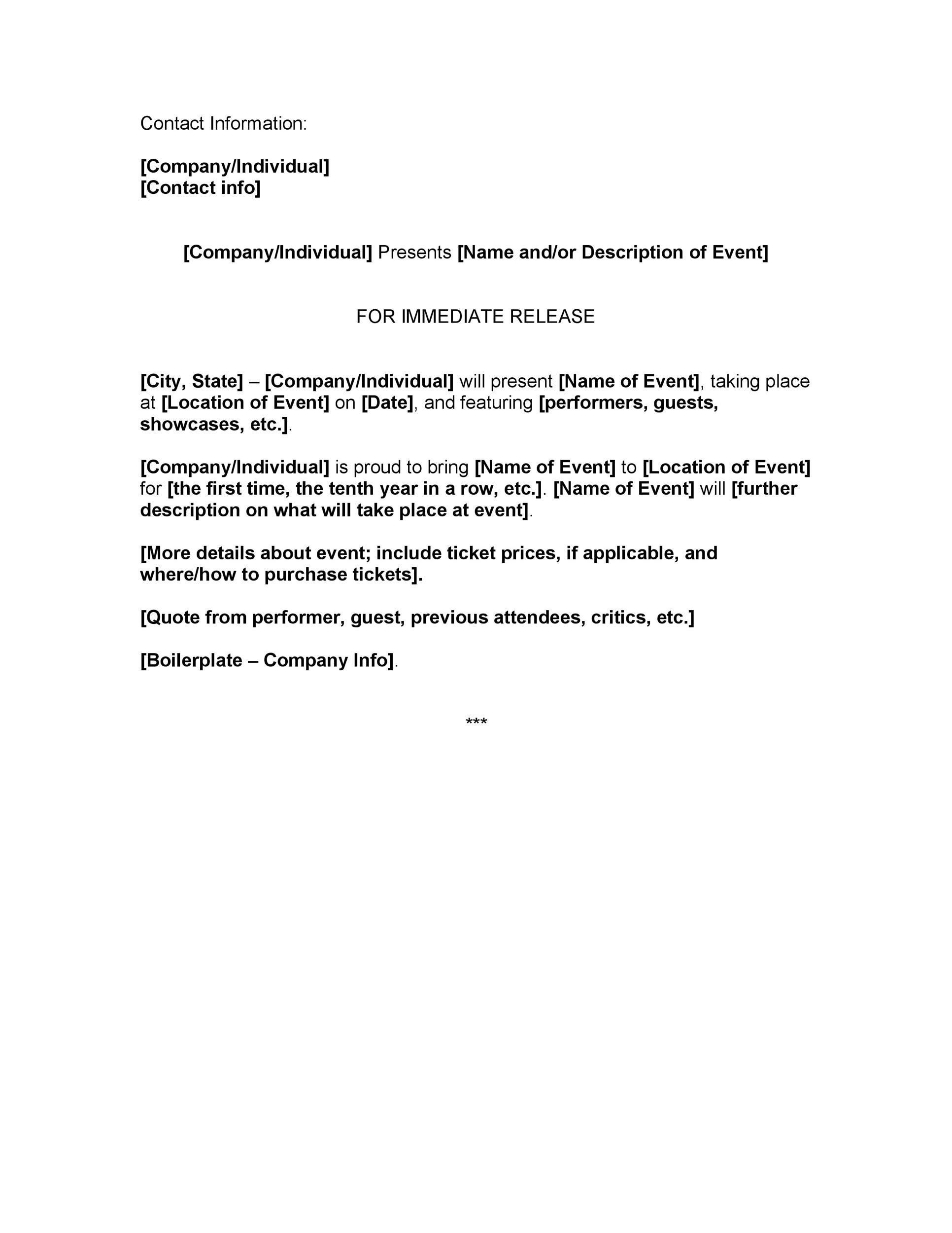Printable Press Release Template 12  Letter Of Release Template