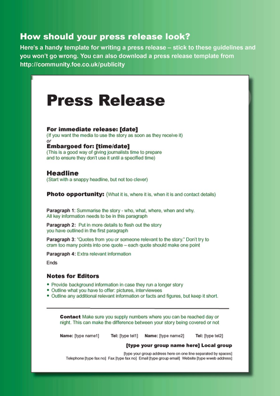 Free Press release template 13