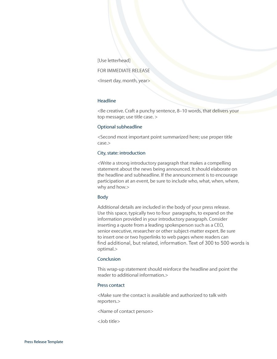 Free Press release template 16