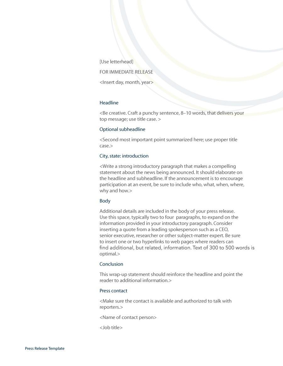 press release template 16