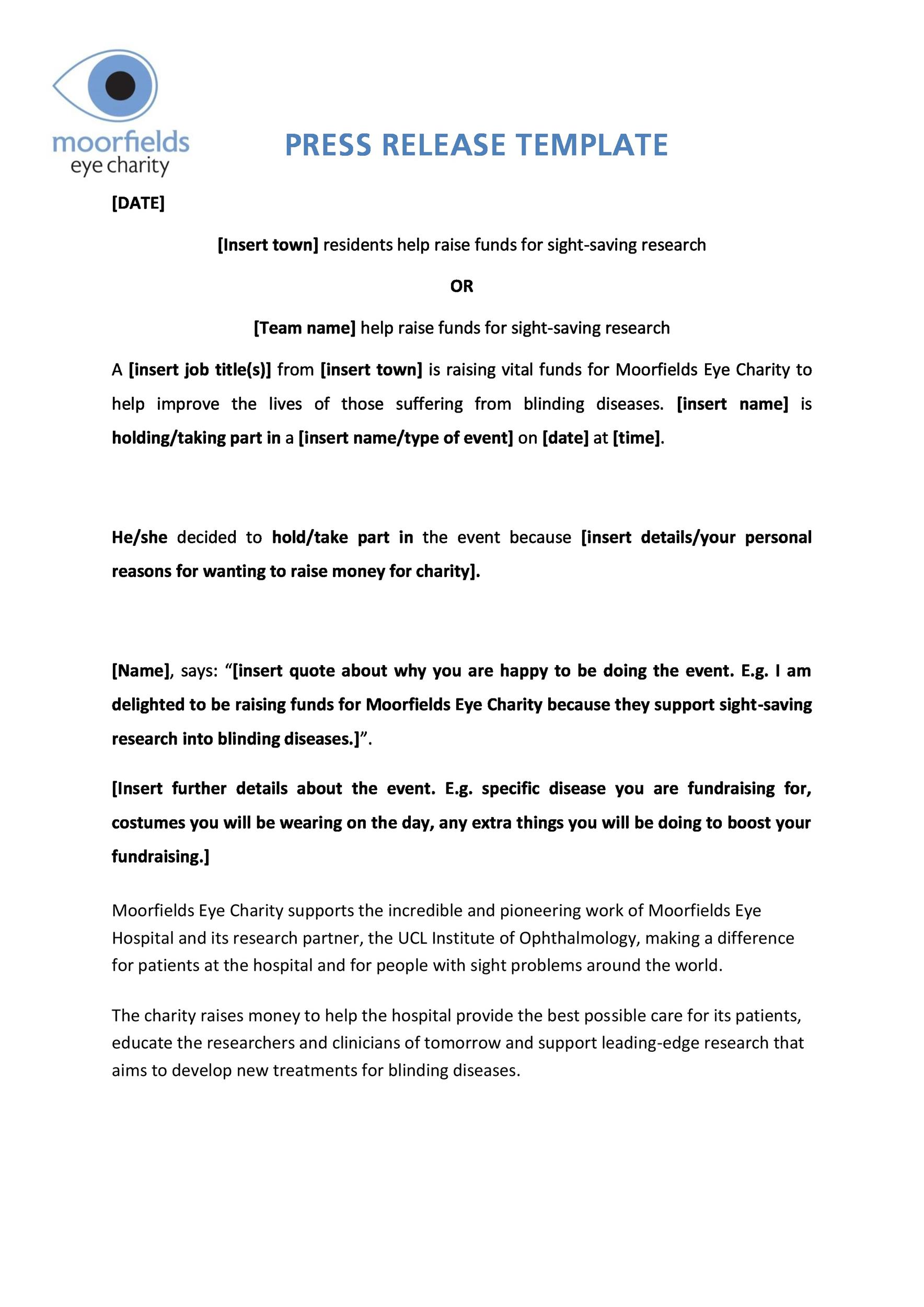 Free Press release template 22
