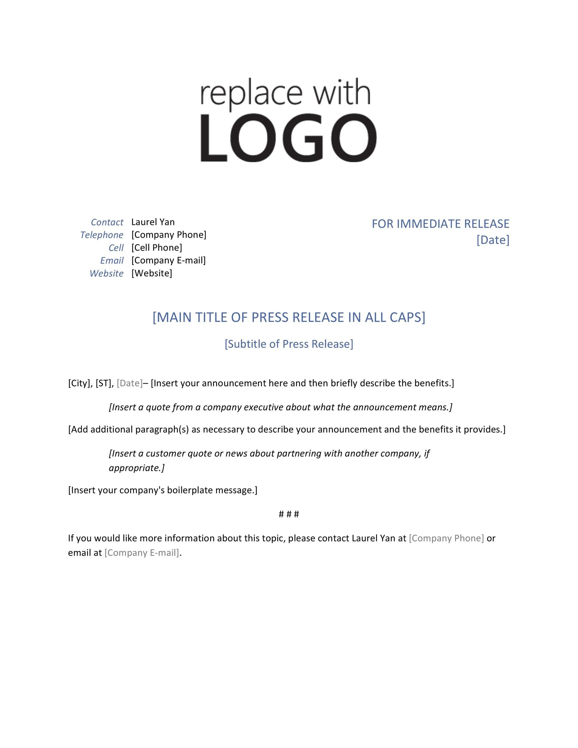 Free press release template gallery professional report for Acquisition press release template
