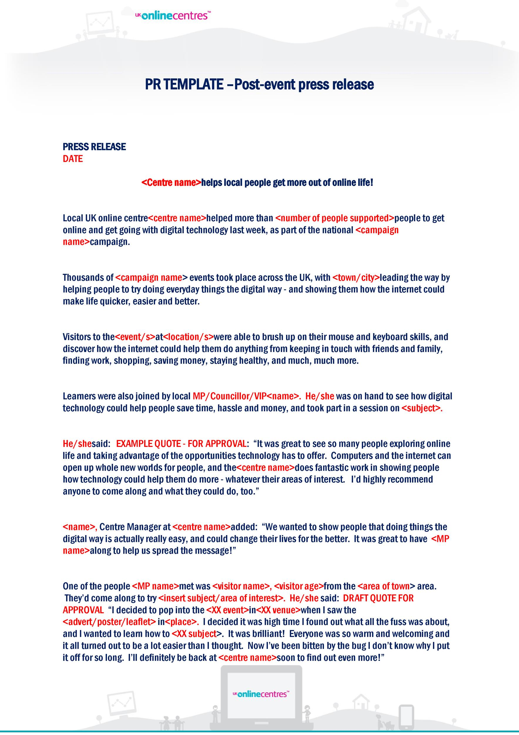 Free Press release template 26