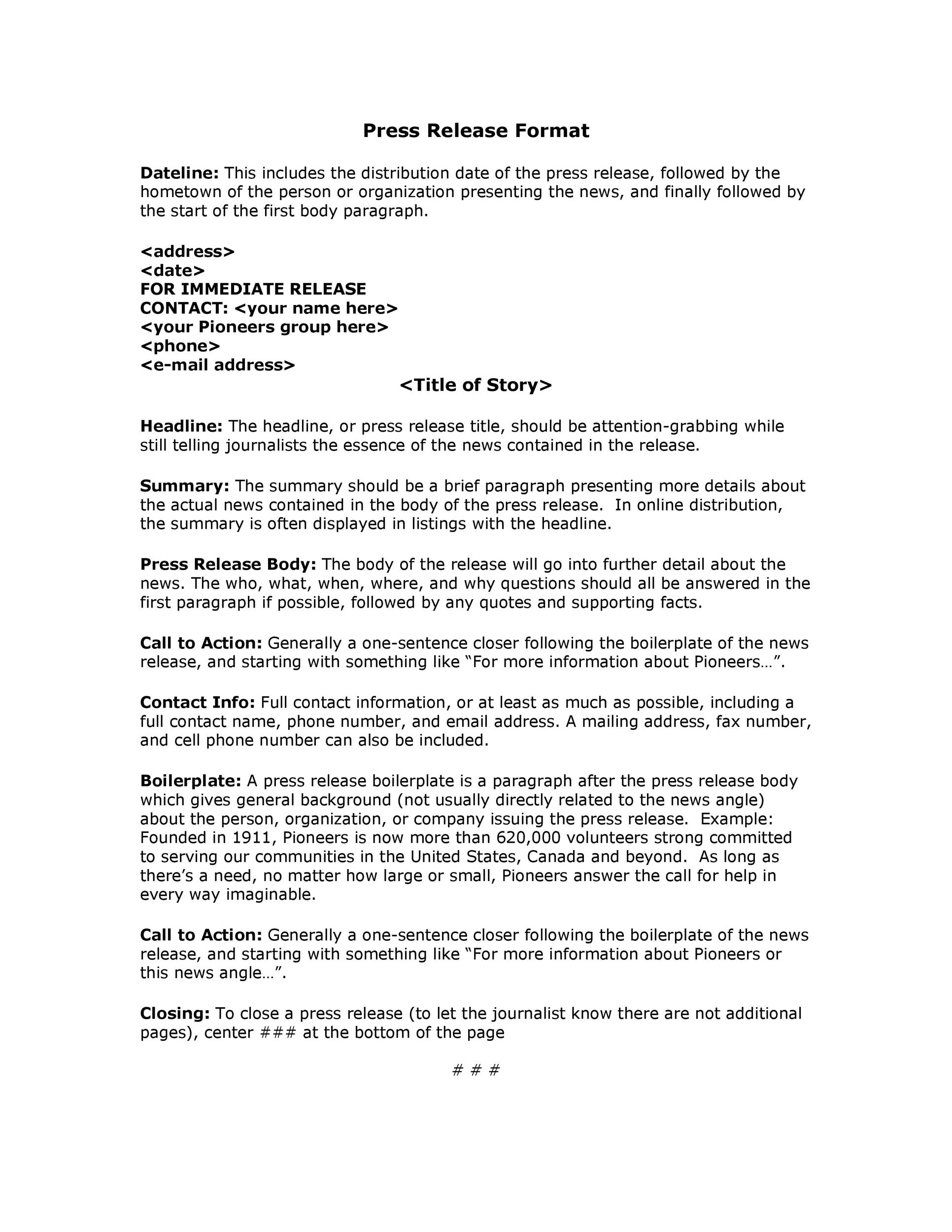 Free Press release template 27