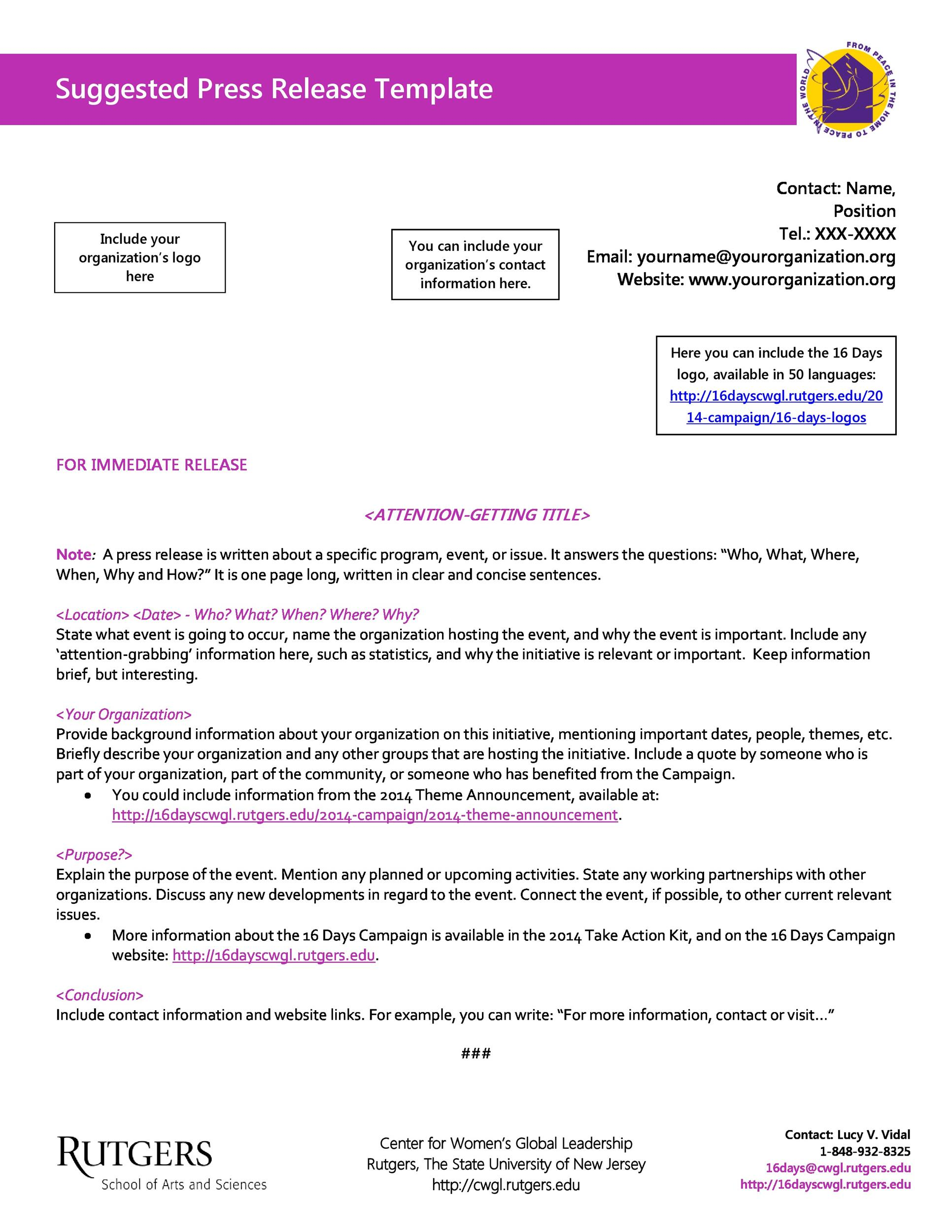 Free Press release template 29