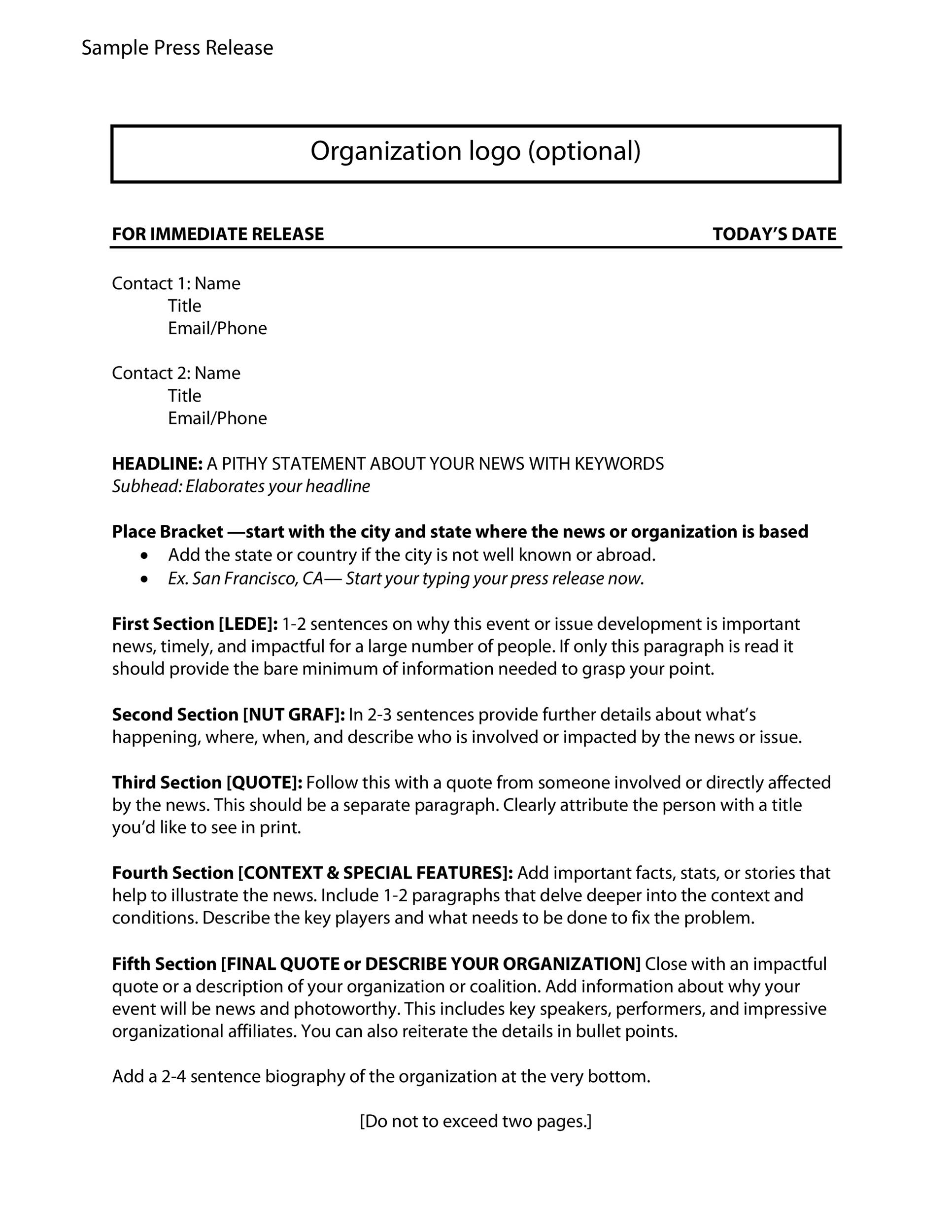 Free Press release template 30