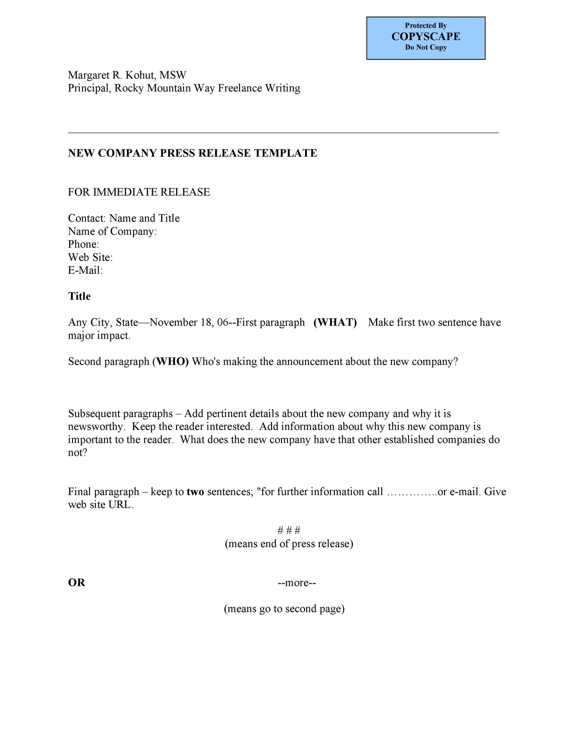 Free Press release template 37