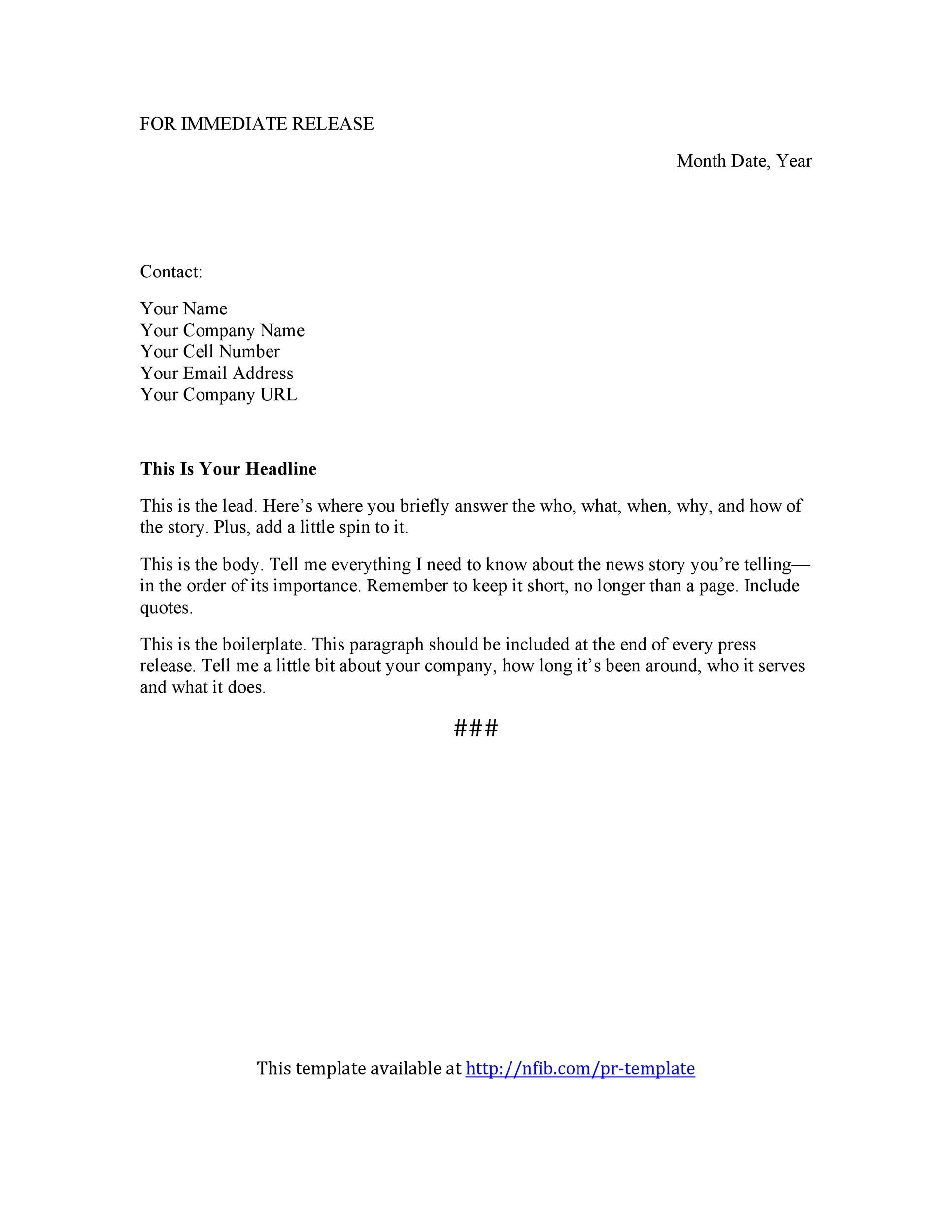 Free Press release template 38