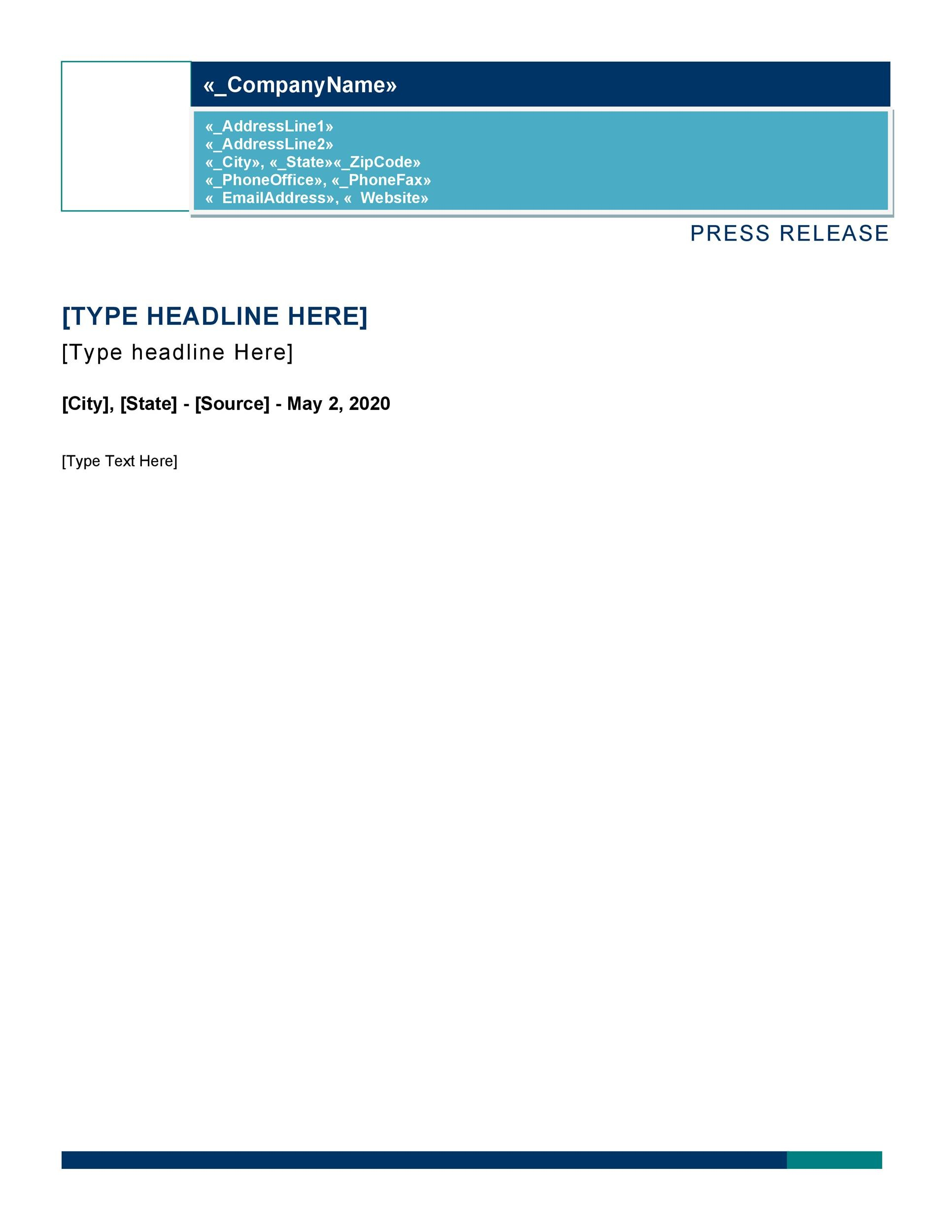Free Press release template 40