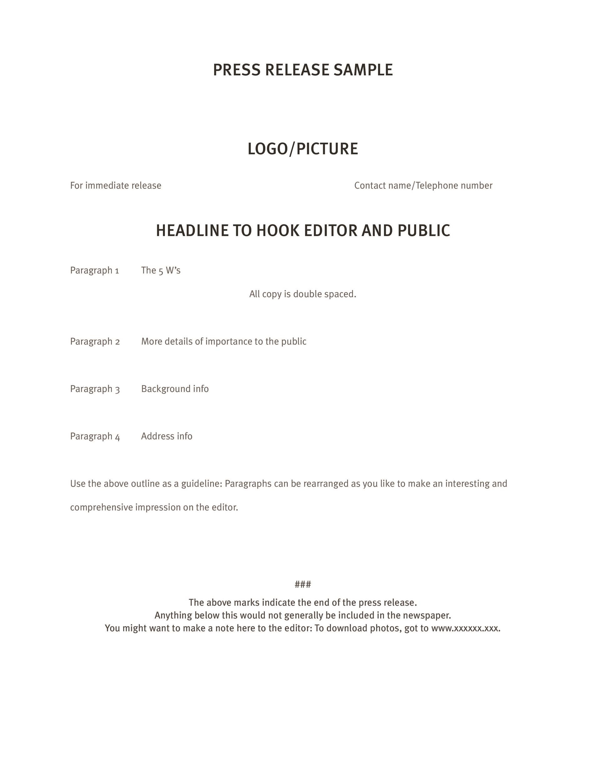press release template 41