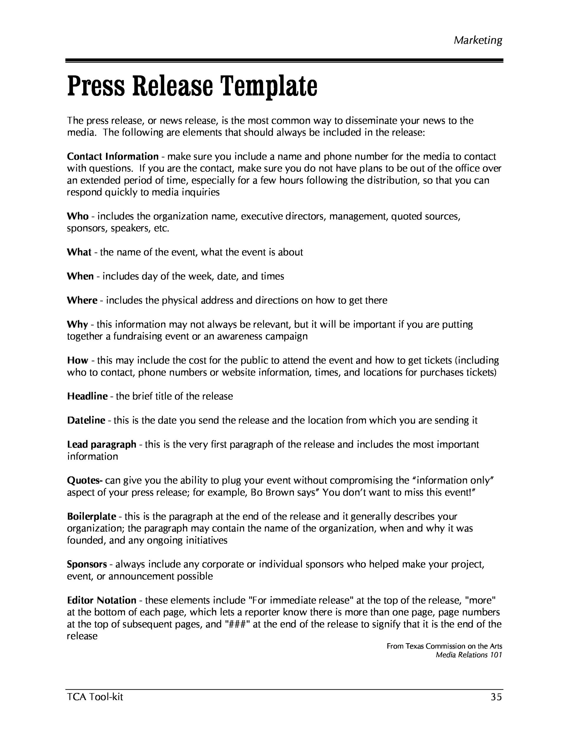 Free Press release template 42