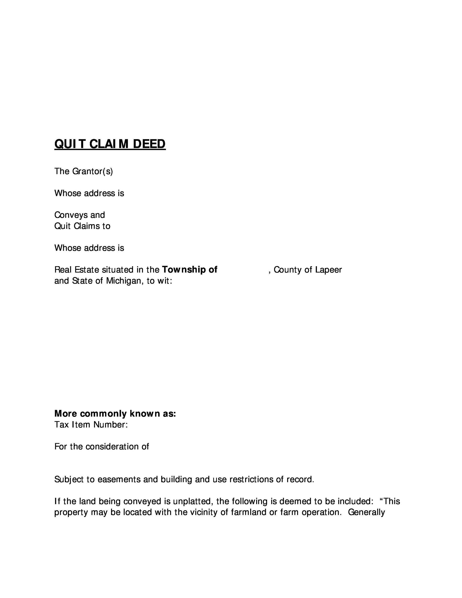 46 Free Quit Claim Deed Forms Templates Template Lab – Warranty Deed Form Template