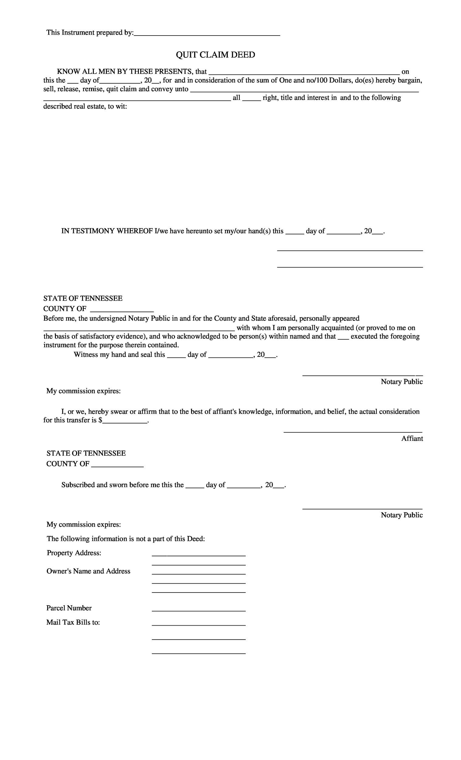 Free Quit Claim Deed Template 08