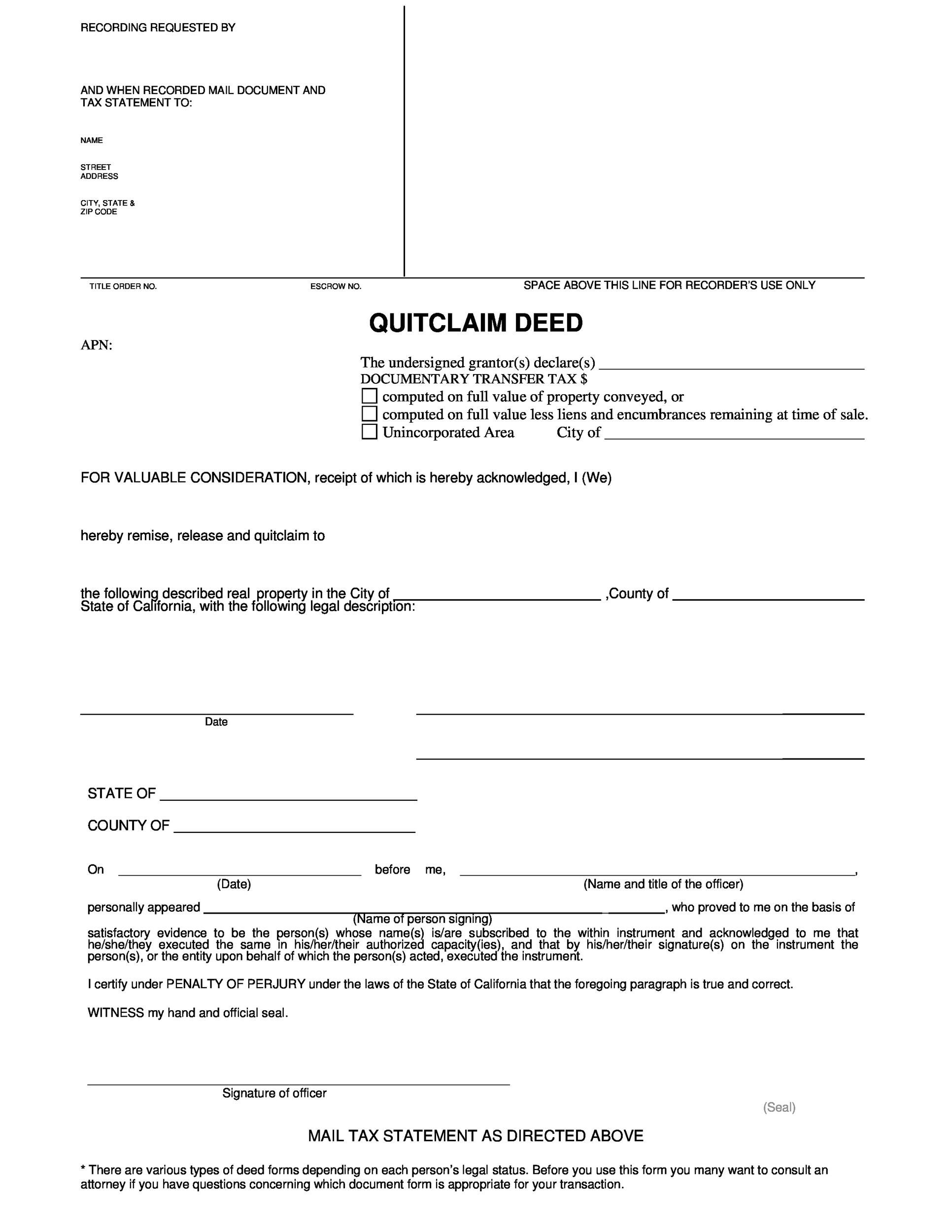Free Quit Claim Deed Template 12