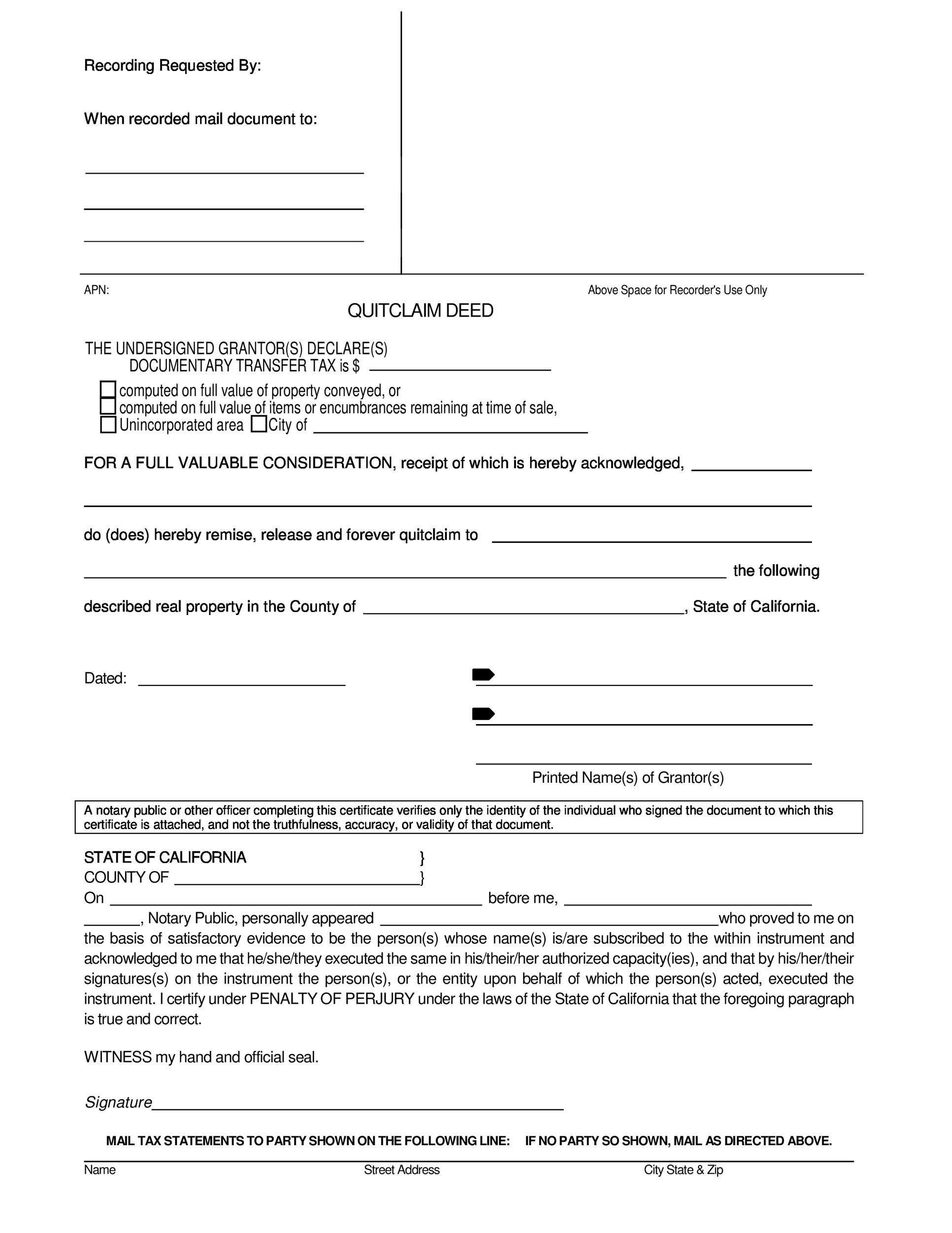 Printable Quit Claim Deed Template 18