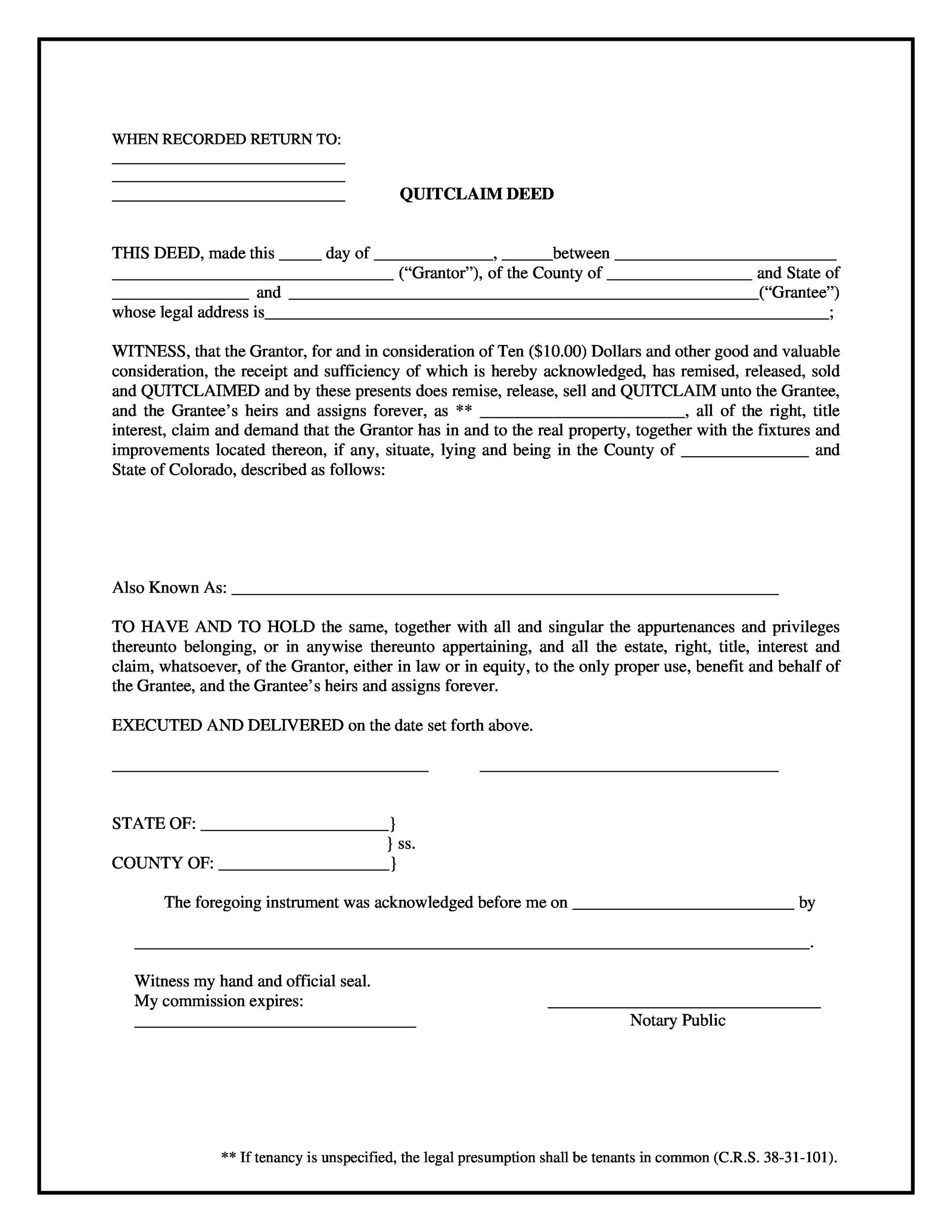 46 free quit claim deed forms templates template lab With quit claim deed template free download