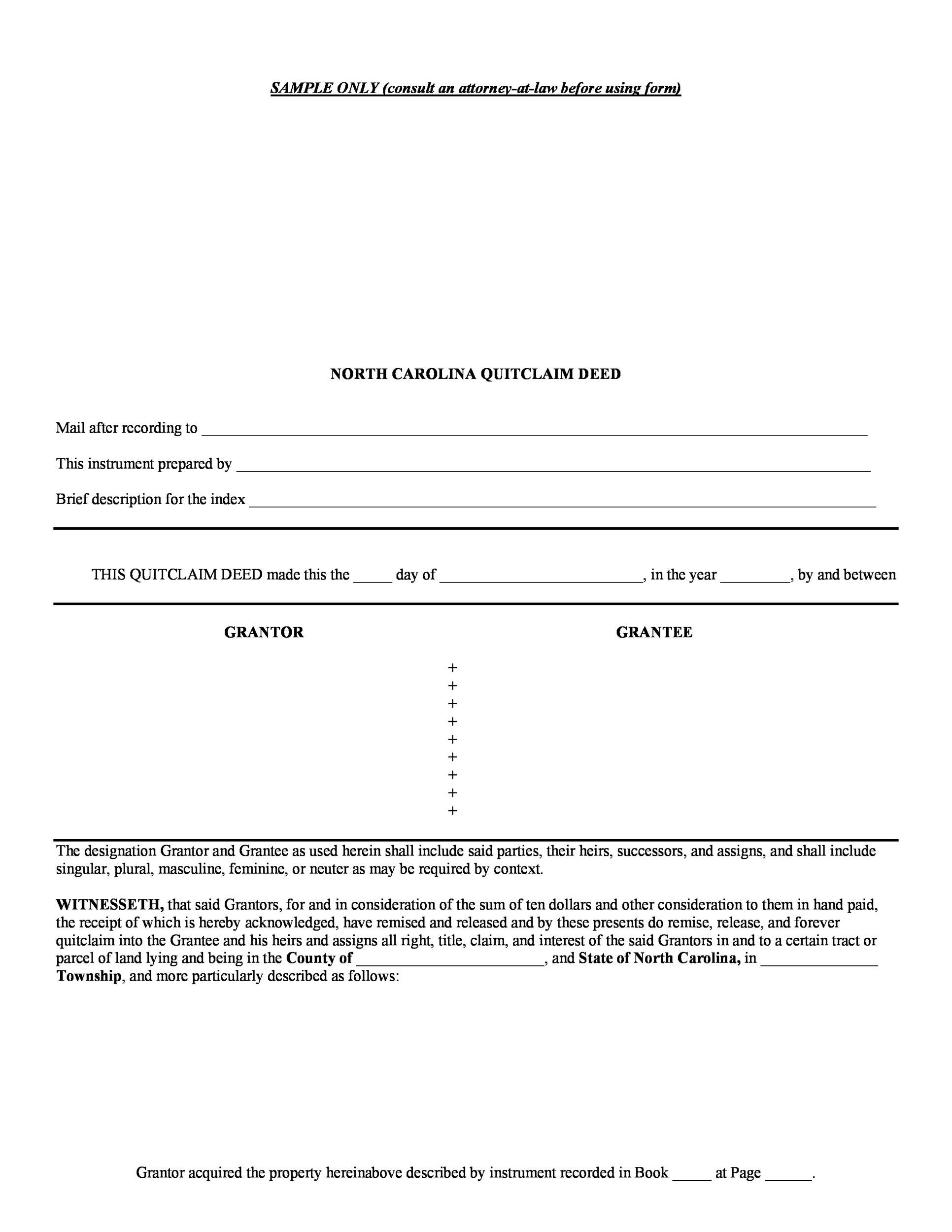 46 Free Quit Claim Deed Forms Templates Template Lab – Sample Quitclaim Deed Form